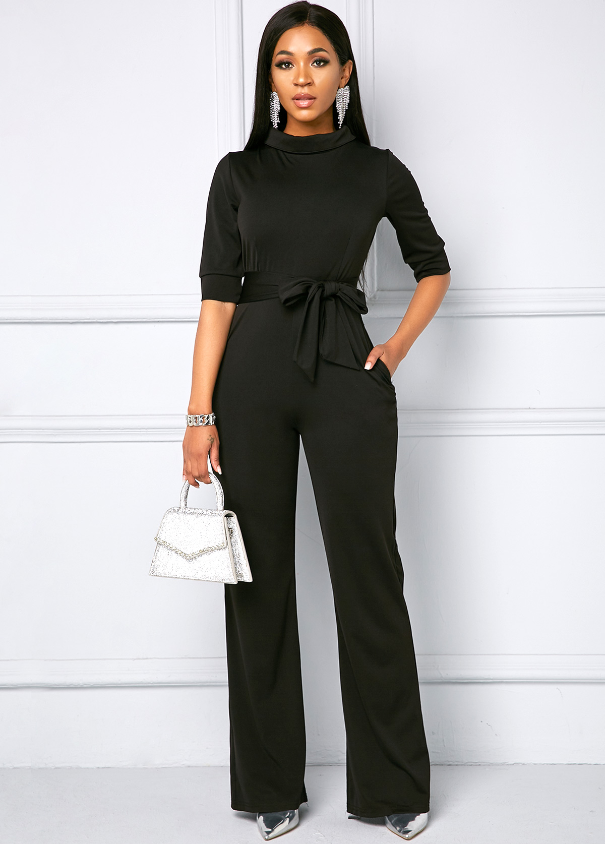 Belted Half Sleeve Side Pocket Jumpsuit