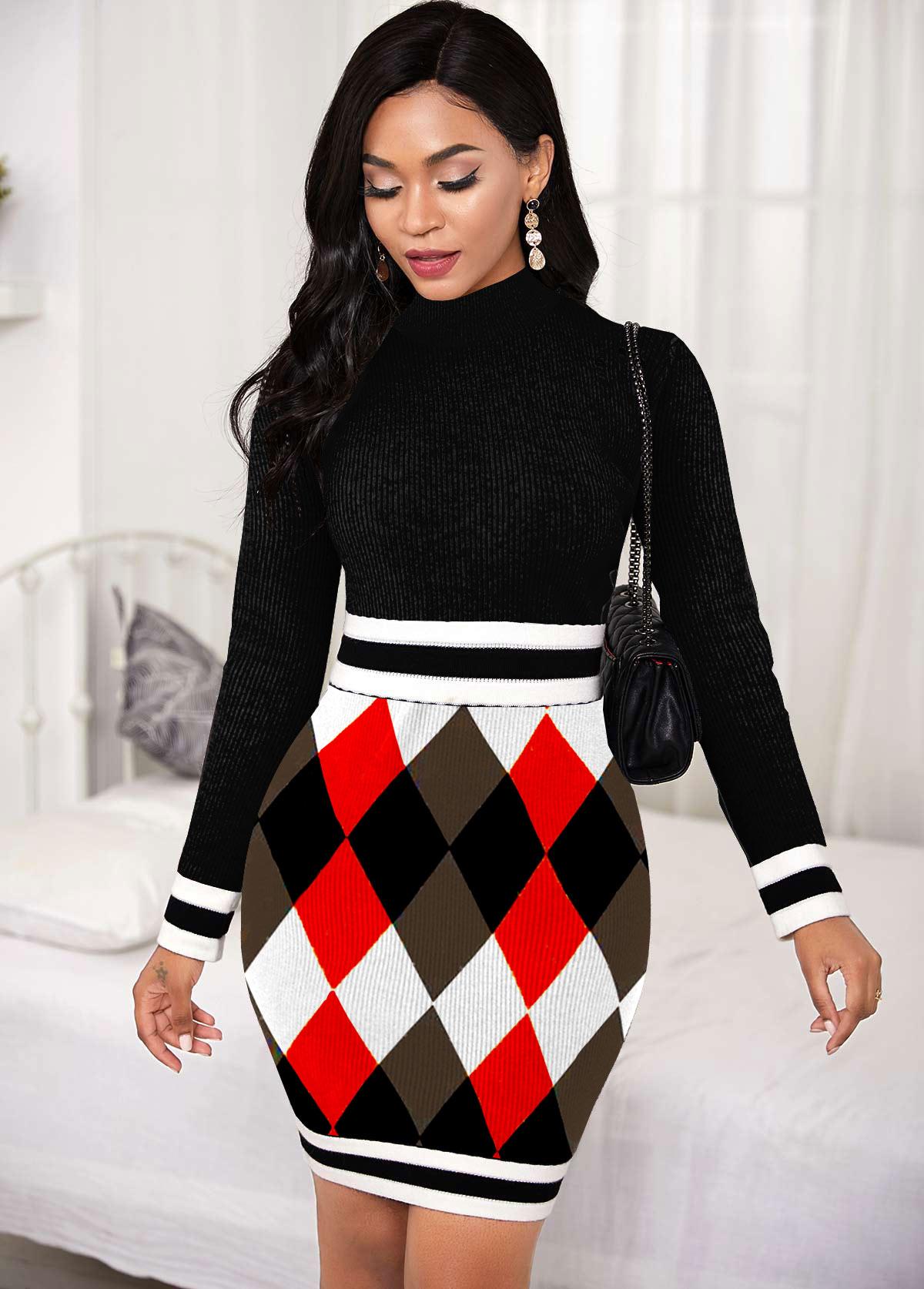 ROTITA Geometric Pattern Back Zipper Sweater Dress