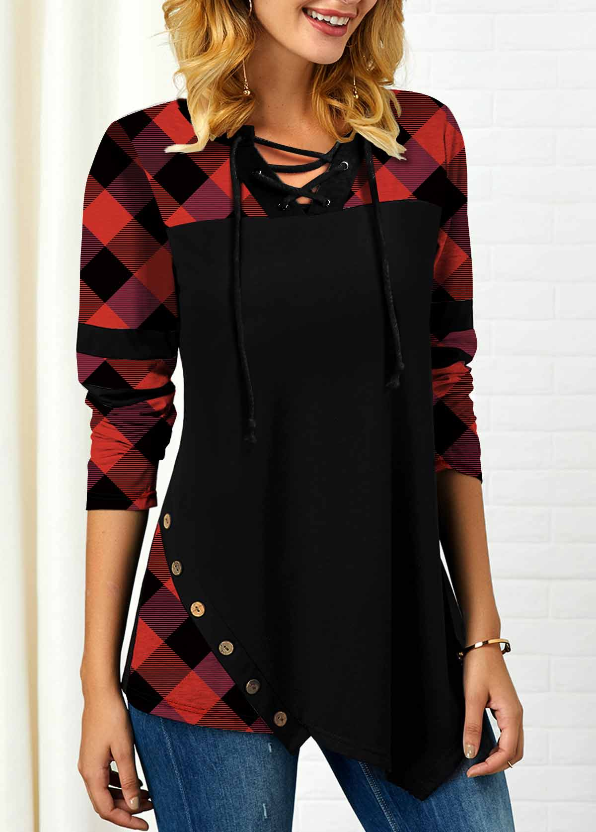 ROTITA Asymmetric Hem Lace Up Plaid T Shirt
