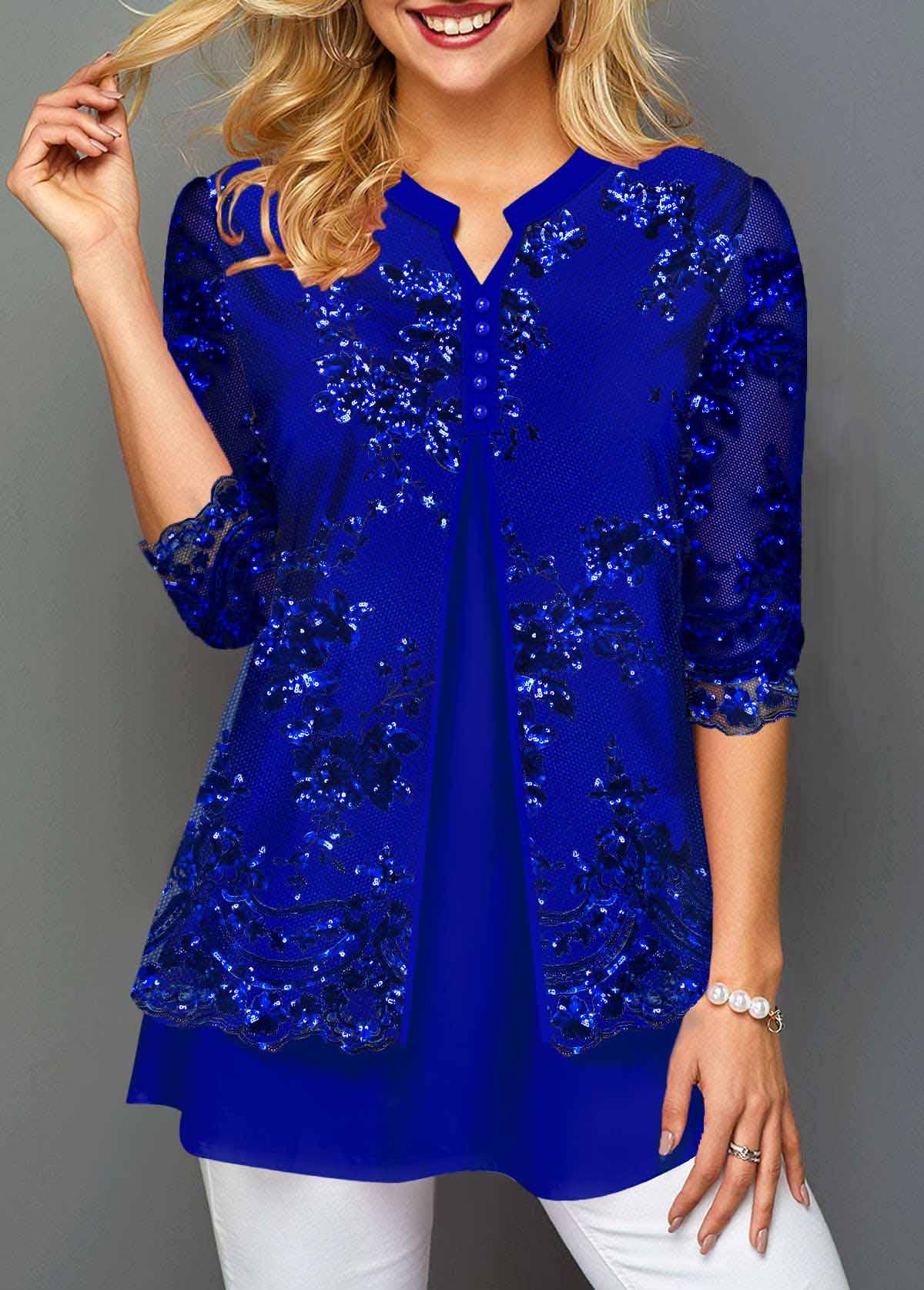ROTITA Lace Stitching Split Neck Sequin T Shirt