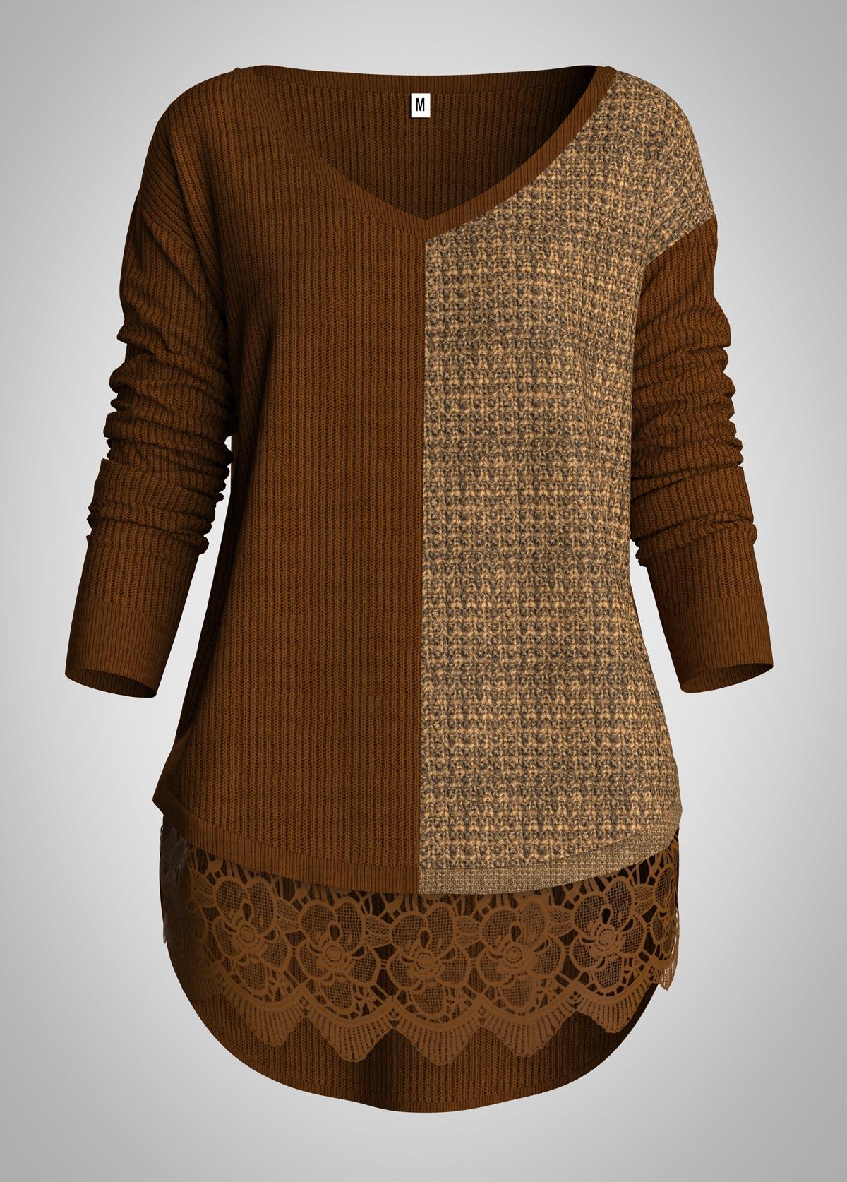 ROTITA V Neck Contrast Lace Panel Sweater