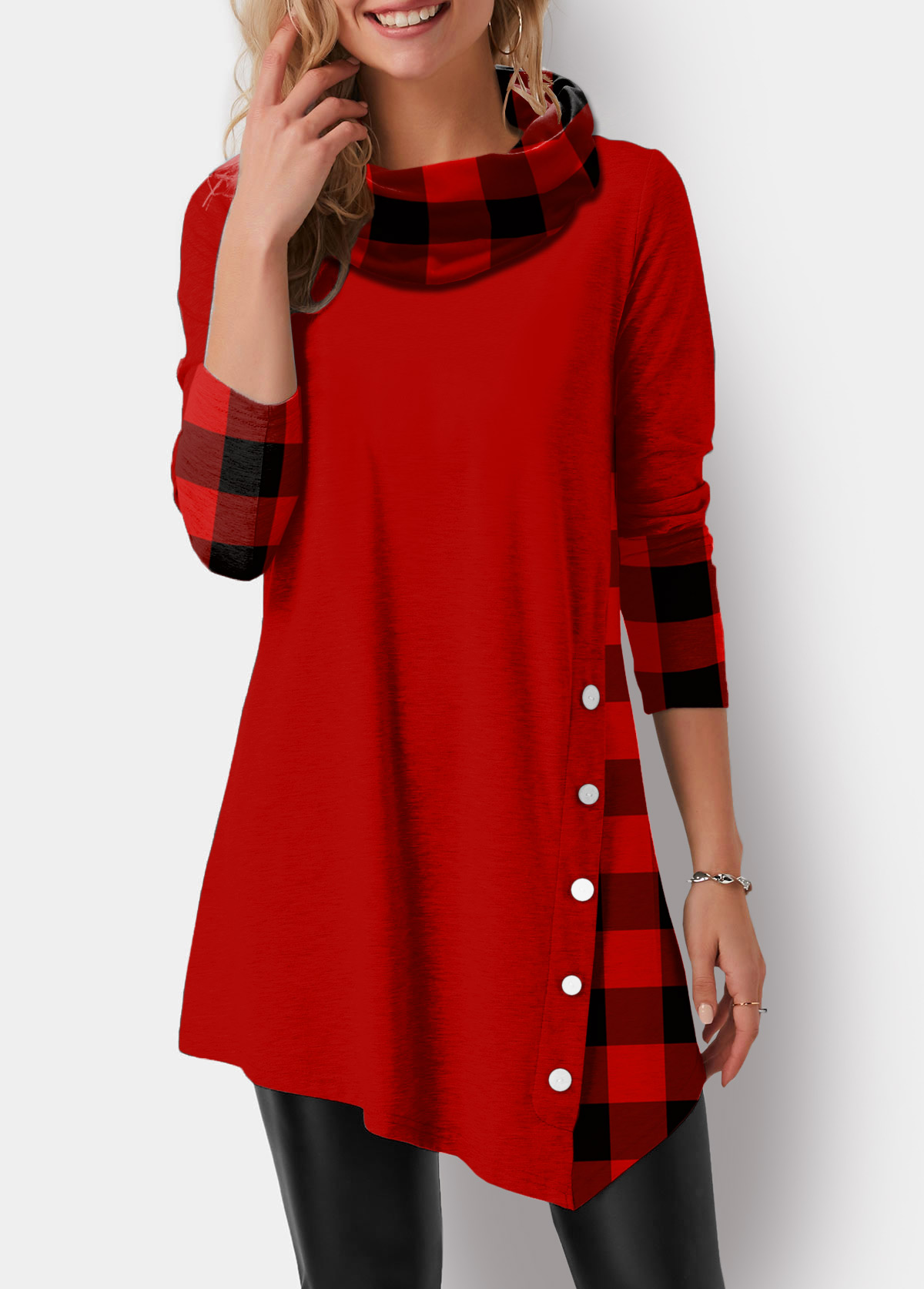 ROTITA Asymmetric Hem Cowl Neck Plaid Print Tunic Top