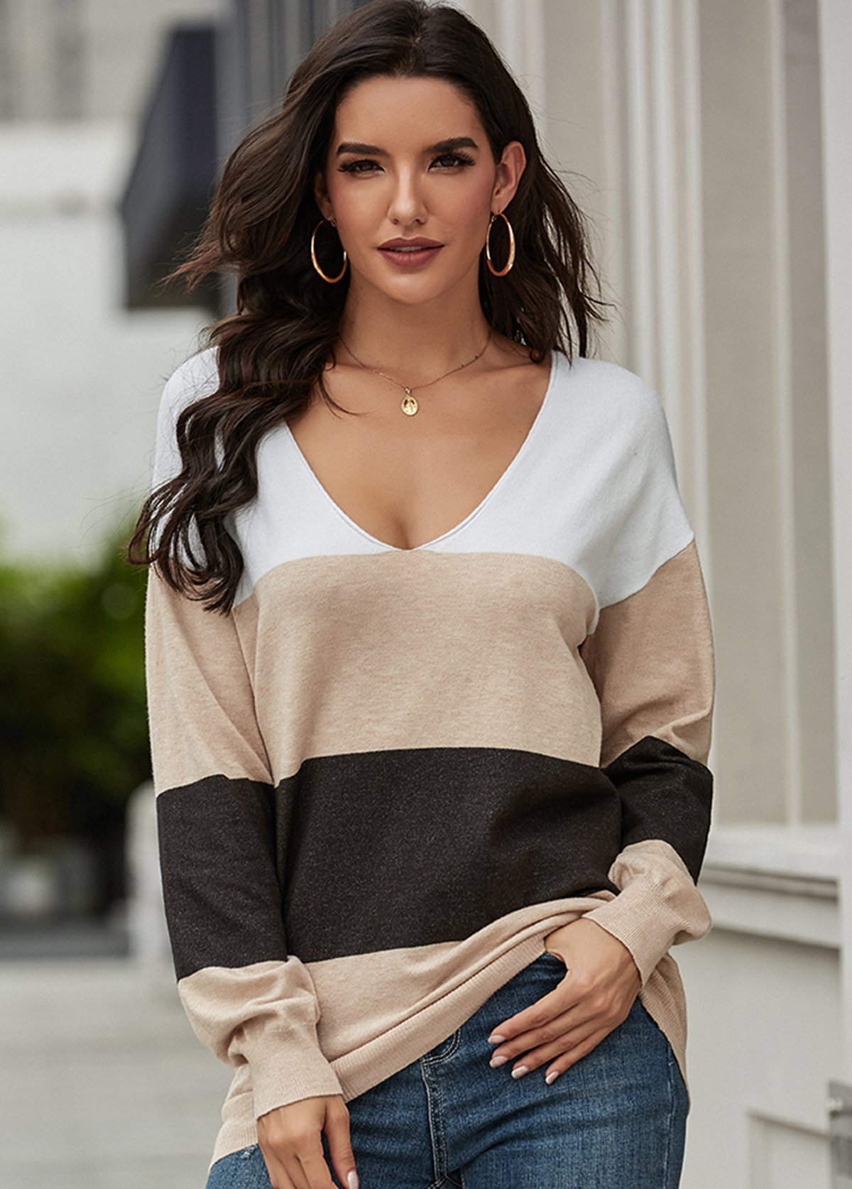 Contrast Long Sleeve V Neck Sweater