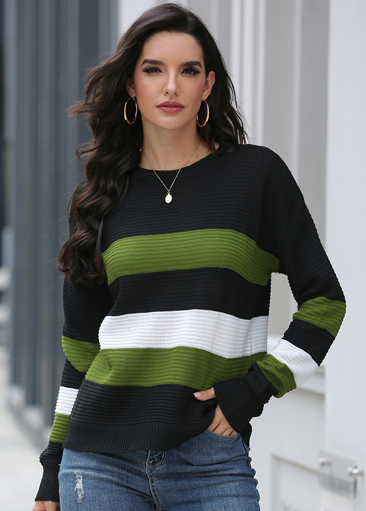 Contrast Long Sleeve Round Neck Sweater