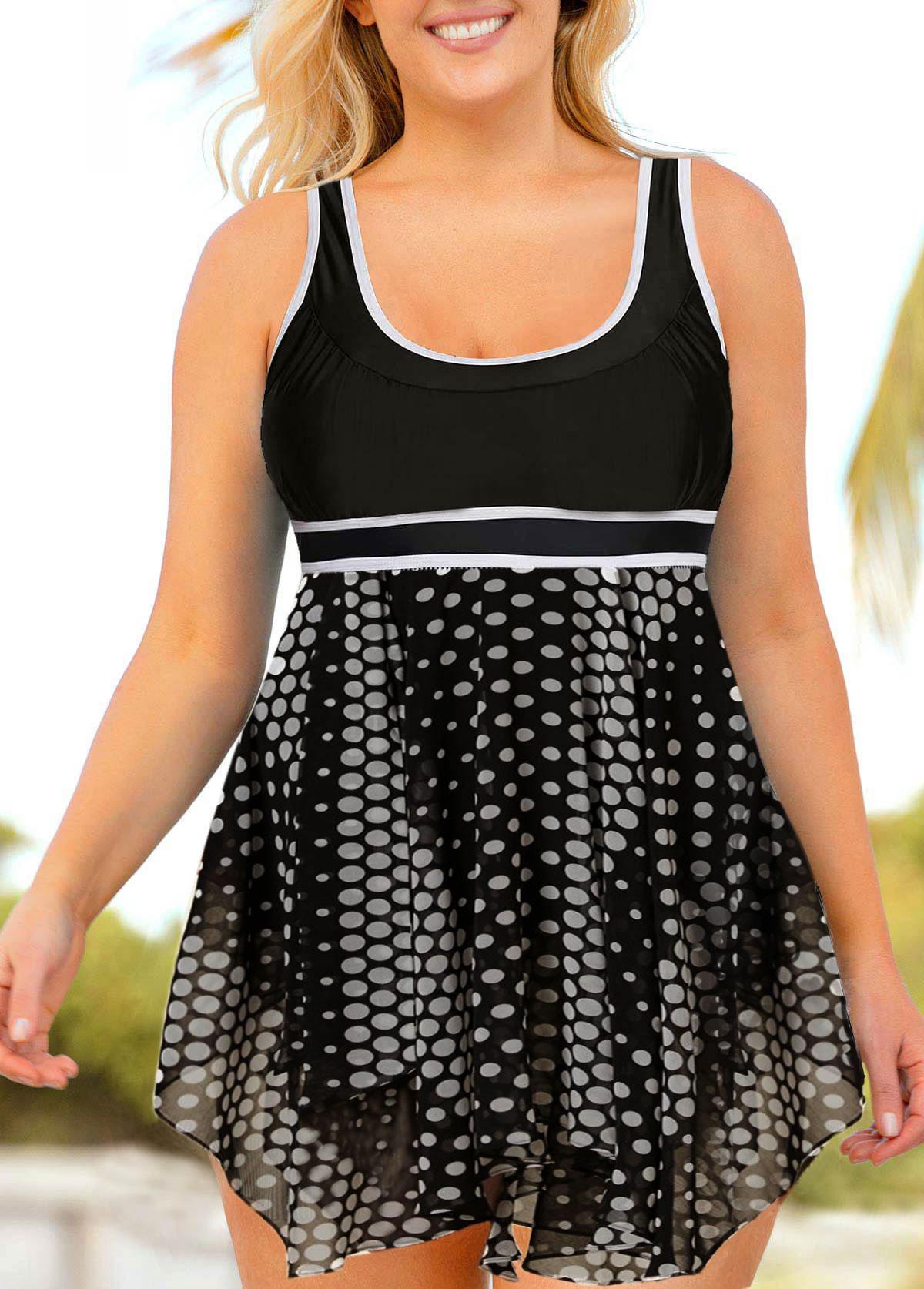 ROTITA Plus Size Polka Dot Asymmetric Hem Swimdress and Shorts
