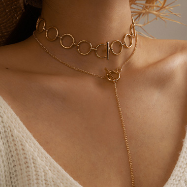 Gold Metal One Word Buckle Circle Necklace