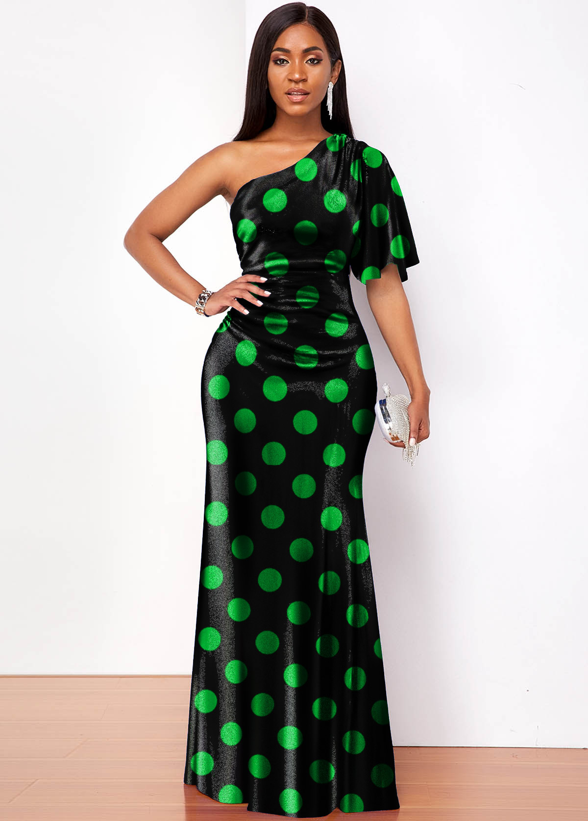 ROTITA Polka Dot Velvet One Shoulder Maxi Dress