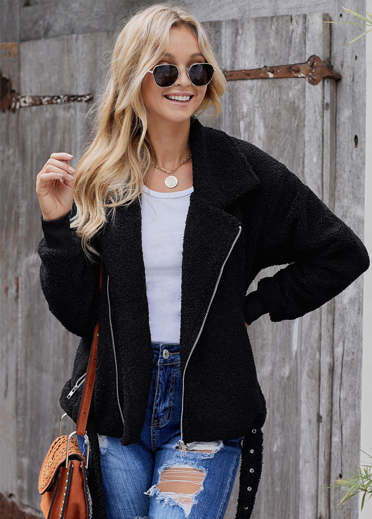Zipper Closure Turndown Collar Belted Fluffy Jacket