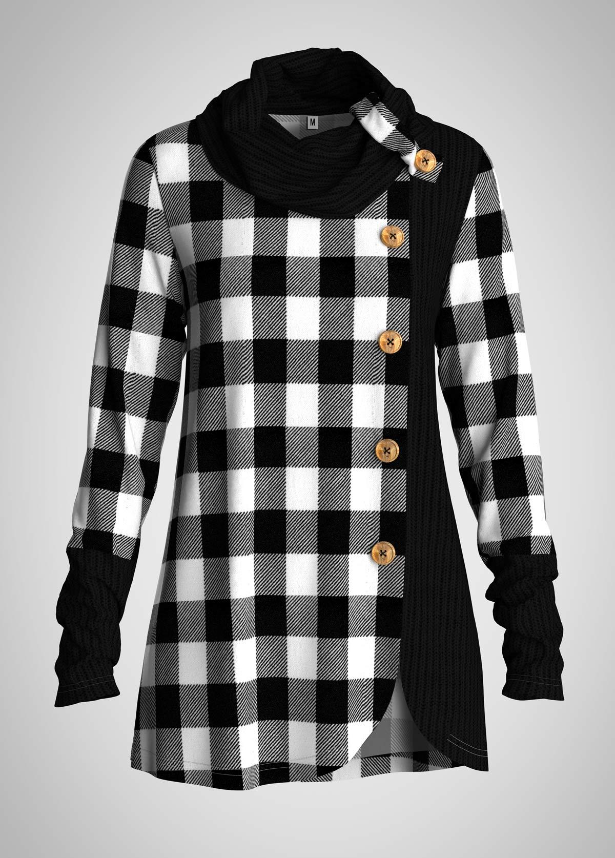 ROTITA Plaid Asymmetric Hem Cowl Neck Button Tunic Top