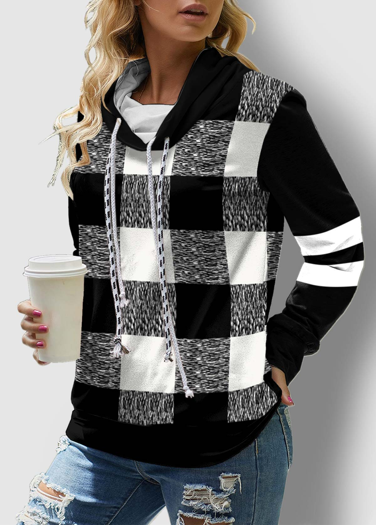 ROTITA Drawstring Neck Plaid Long Sleeve Contrast Sweatshirt