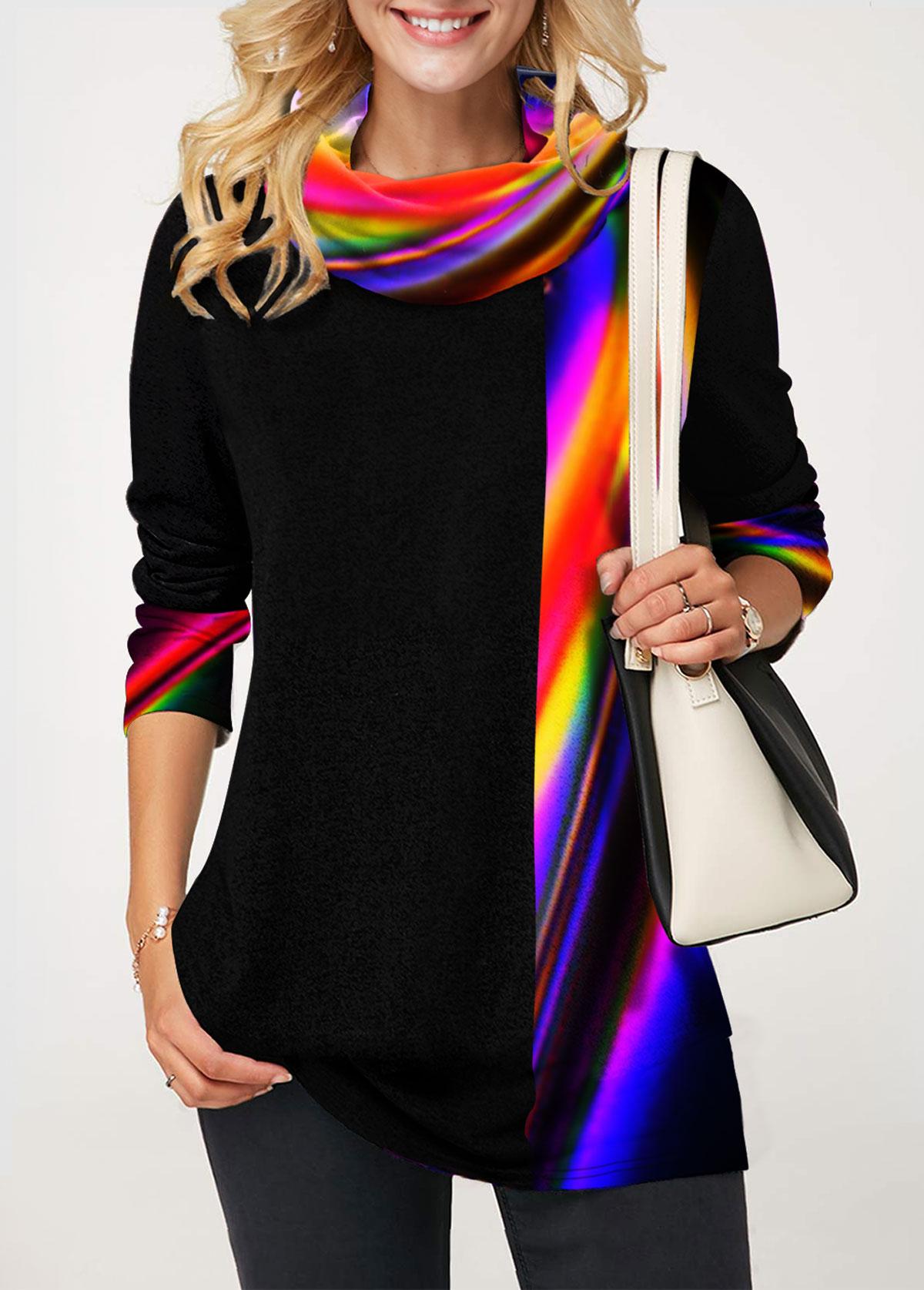 ROTITA Cowl Neck Rainbow Color Geometric Print Tunic Top