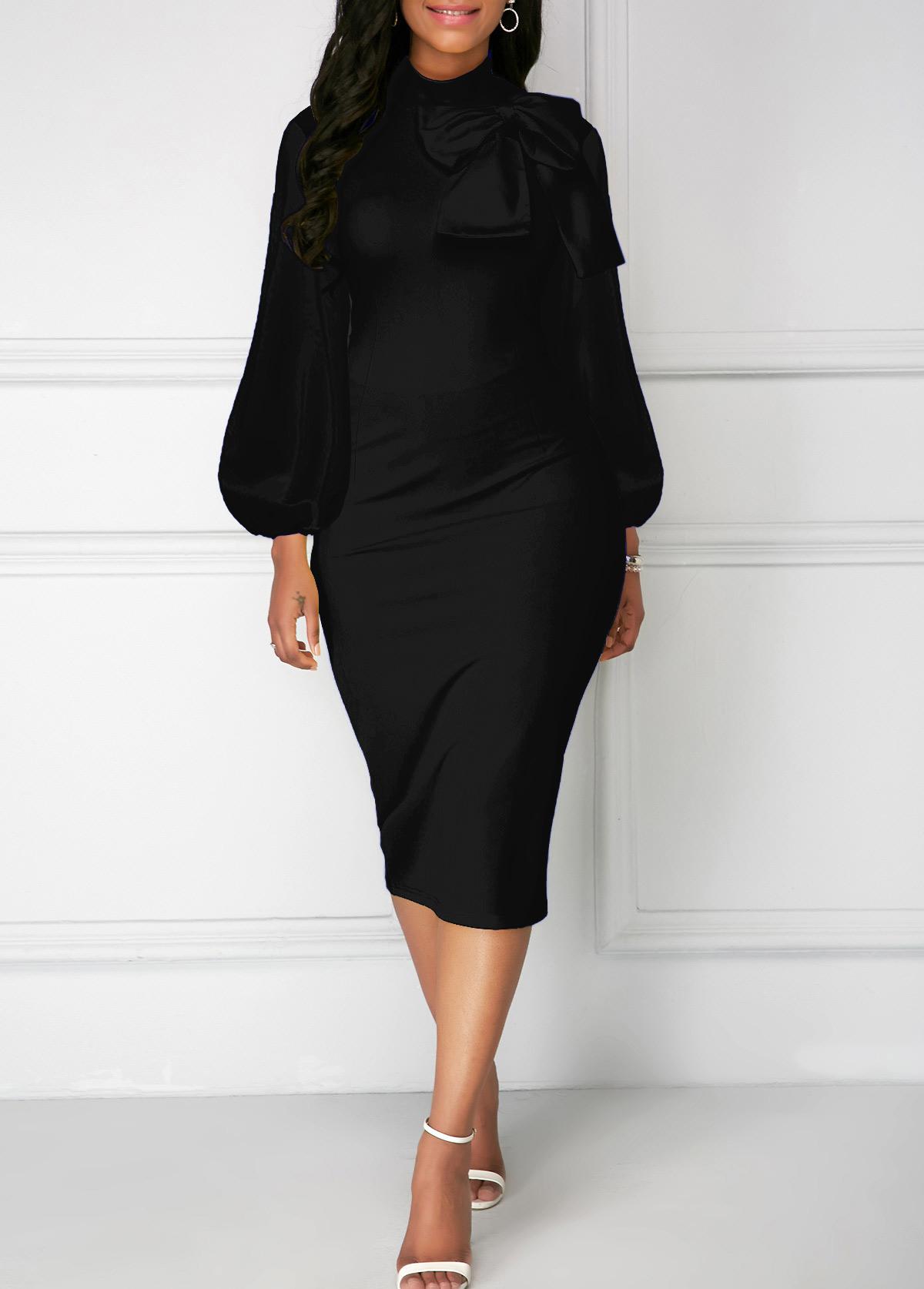 ROTITA Bowknot Neck Lantern Sleeve Black Sheath Dress