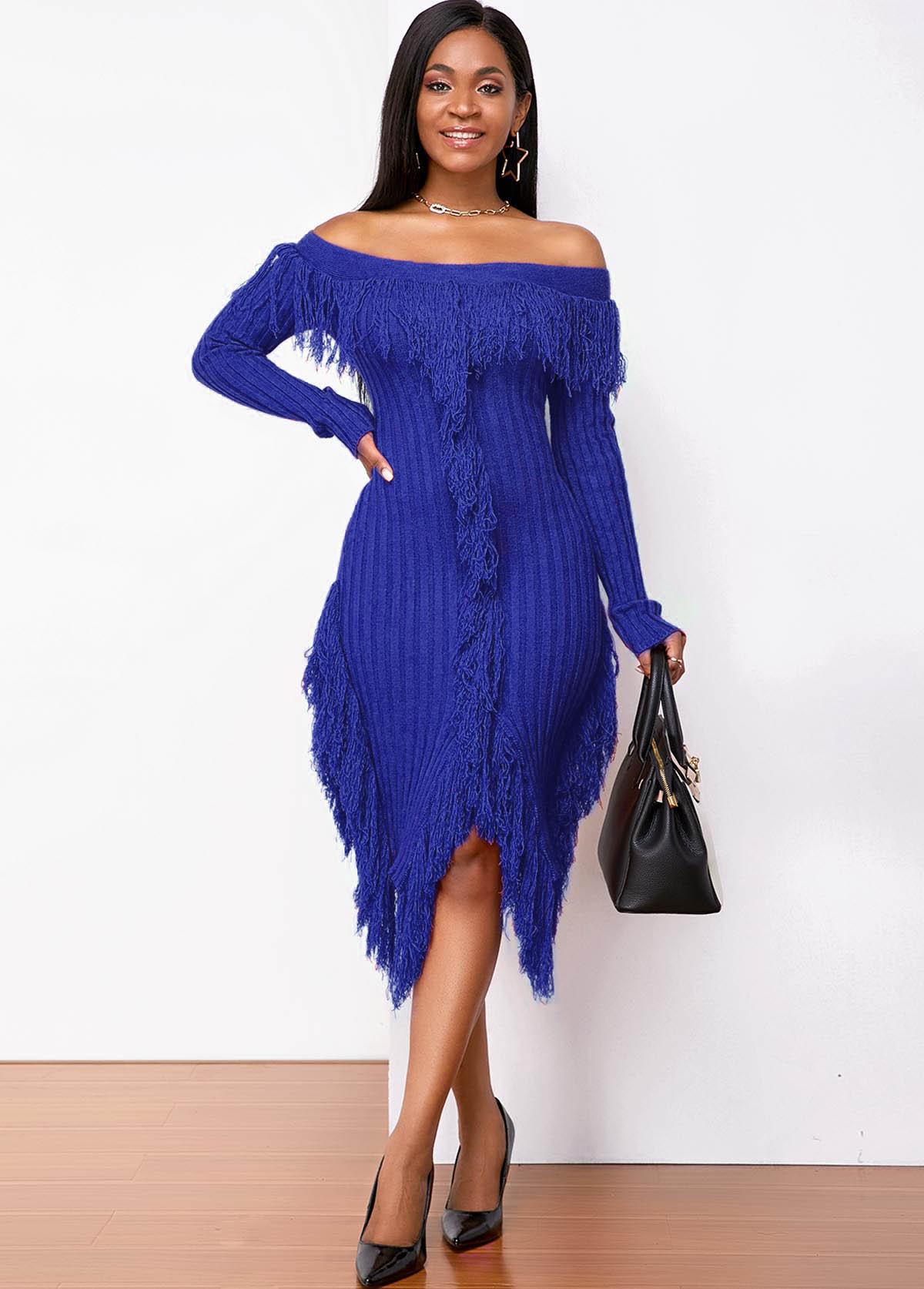 ROTITA Long Sleeve Off Shoulder Tassel Sweater Dress