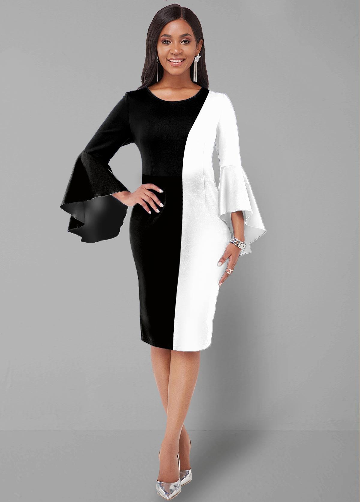 ROTITA Color Block Flare Sleeve Round Neck Dress
