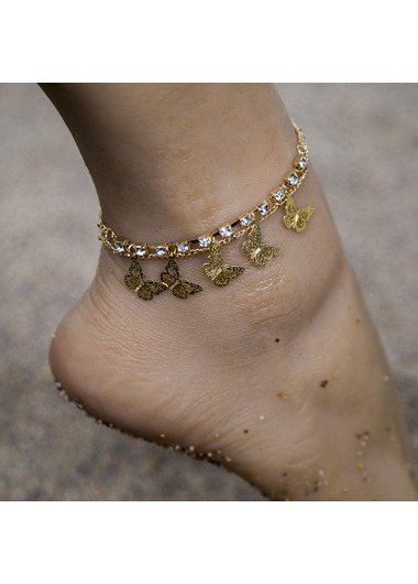 Rhinestone Detail Gold Metal Butterfly Anklet