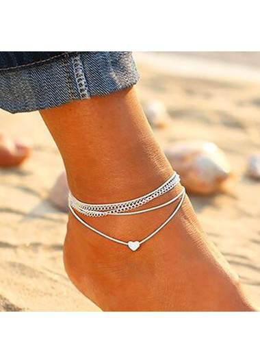 Silver Metal Heart Shape Anklets for Woman