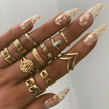 Geometric Design Gold Metal Ring Set