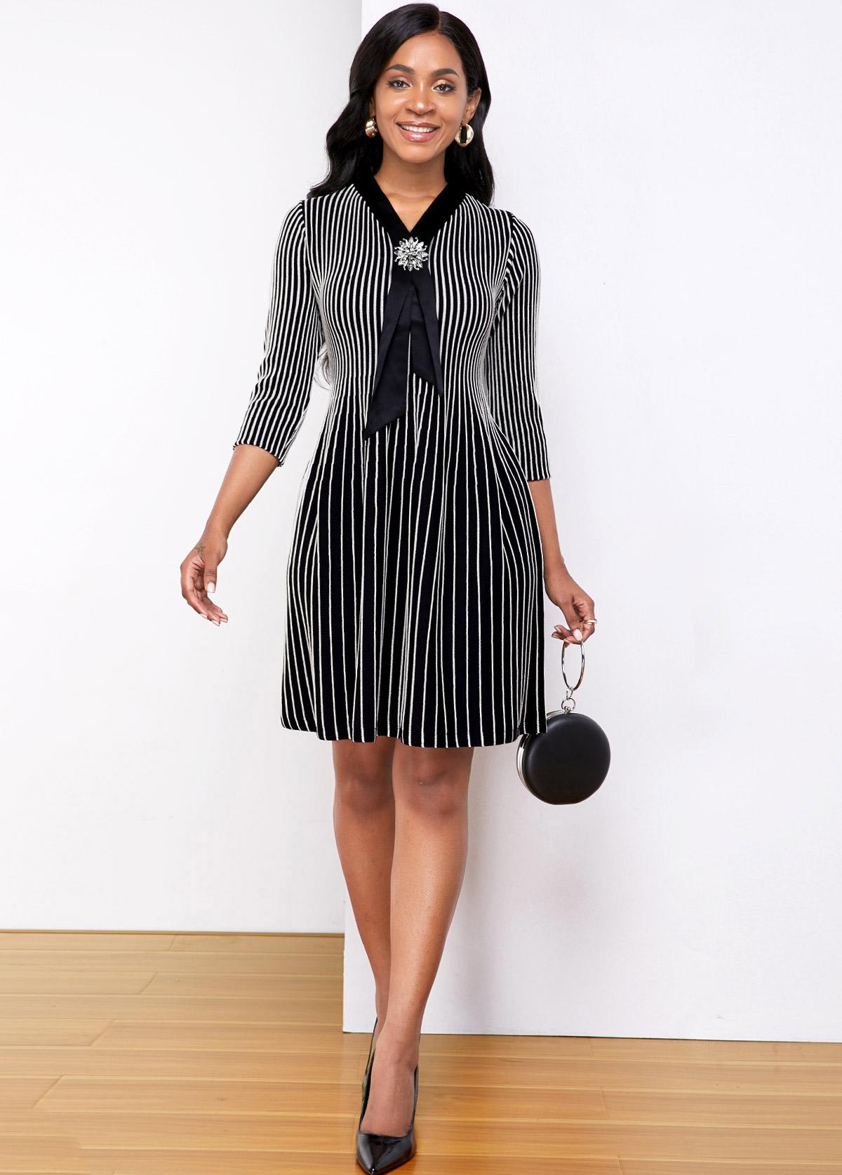 ROTITA Contrast Three Quarter Sleeve Striped Sweater Dress