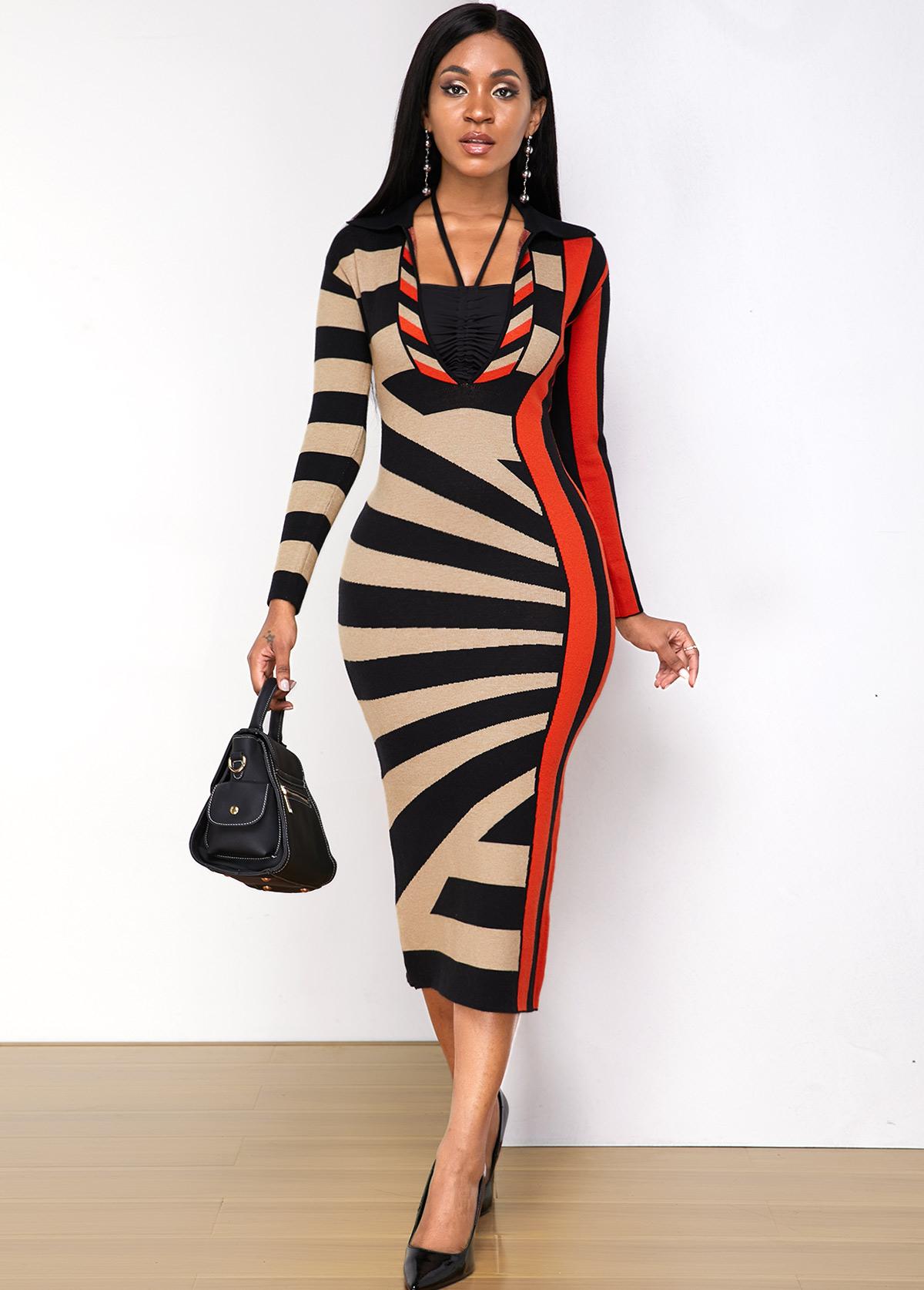 ROTITA Turndown Collar Geometric Print Sweater Dress