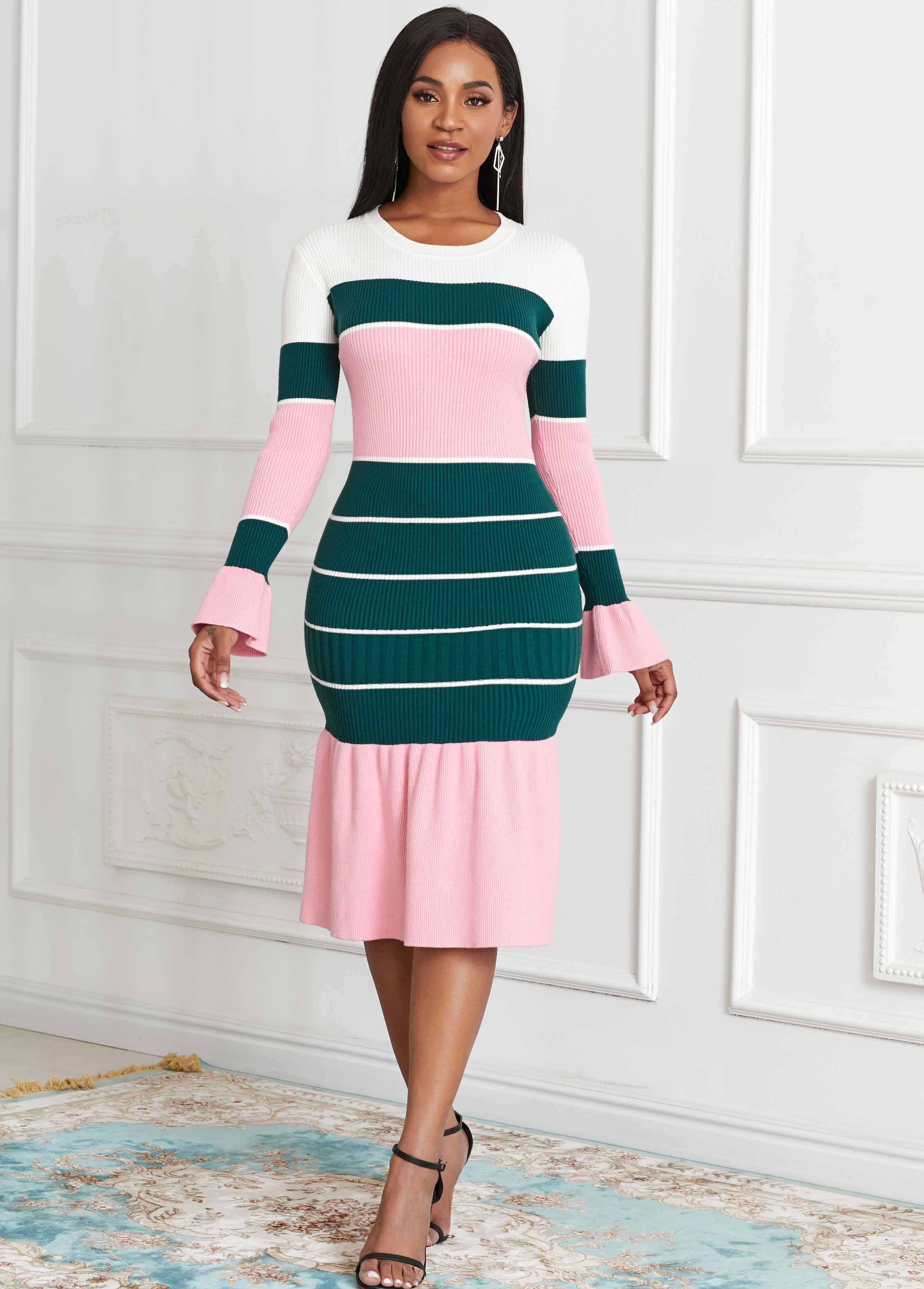 ROTITA Color Block Long Sleeve Sweater Dress