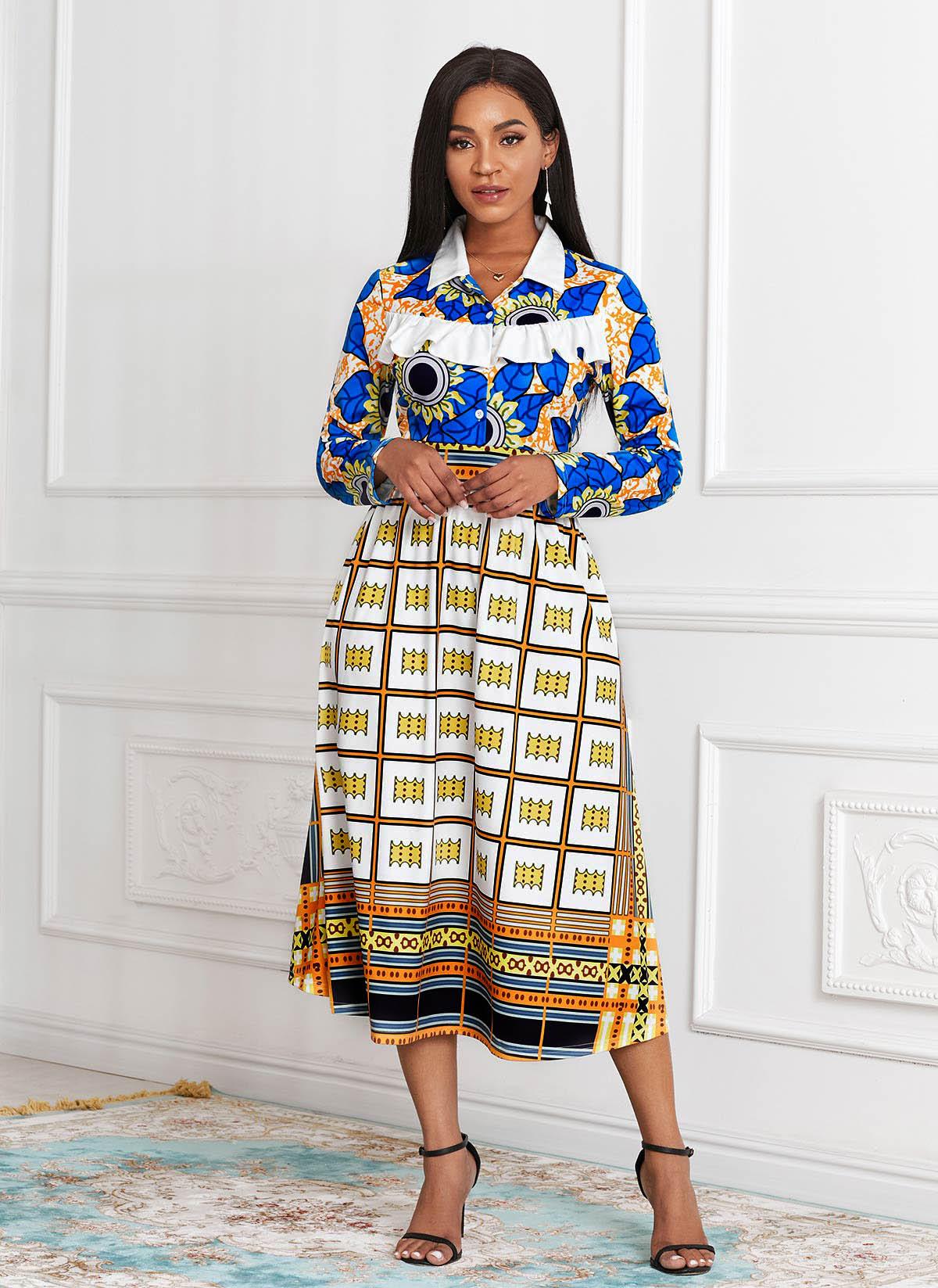 ROTITA Turndown Collar Printed Long Sleeve Dress