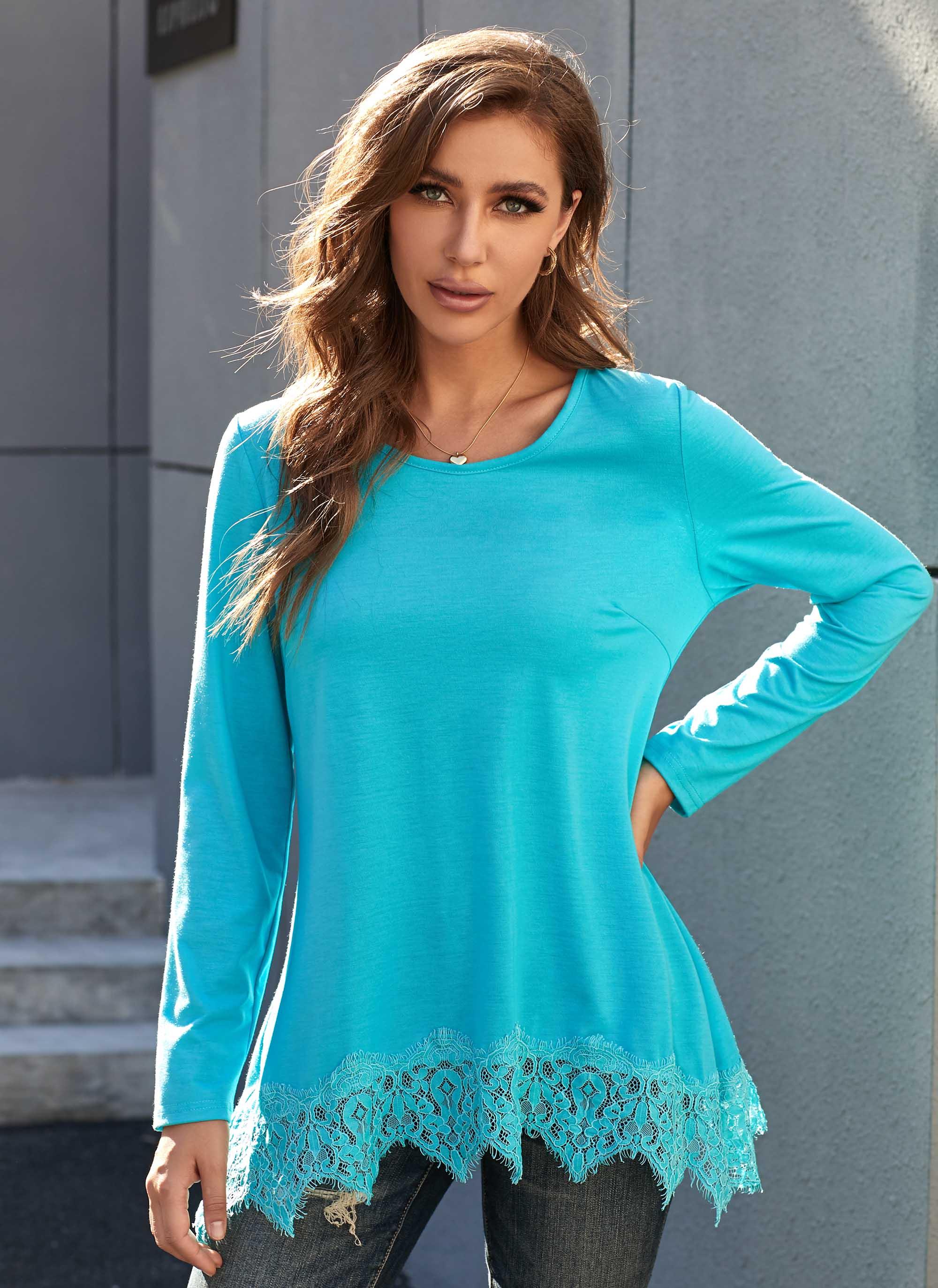 ROTITA Round Neck Long Sleeve Lace Stitching Tunic Top