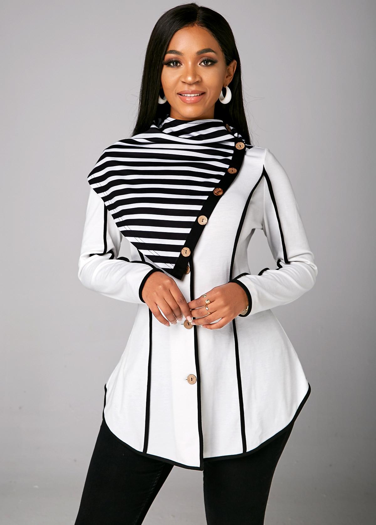 ROTITA Long Sleeve Striped Asymmetric Hem Sweatshirt
