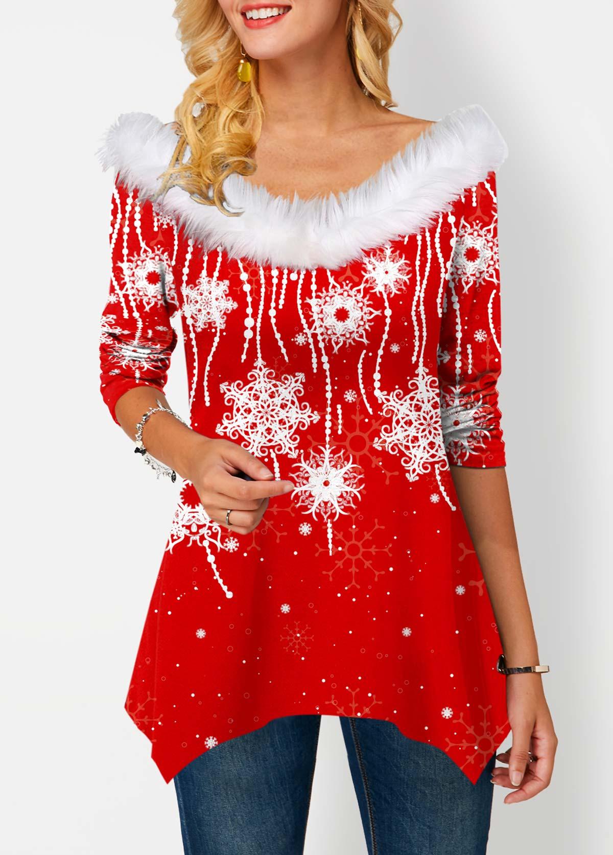 ROTITA Snowflake Print Faux Collar Asymmetric Hem T Shirt