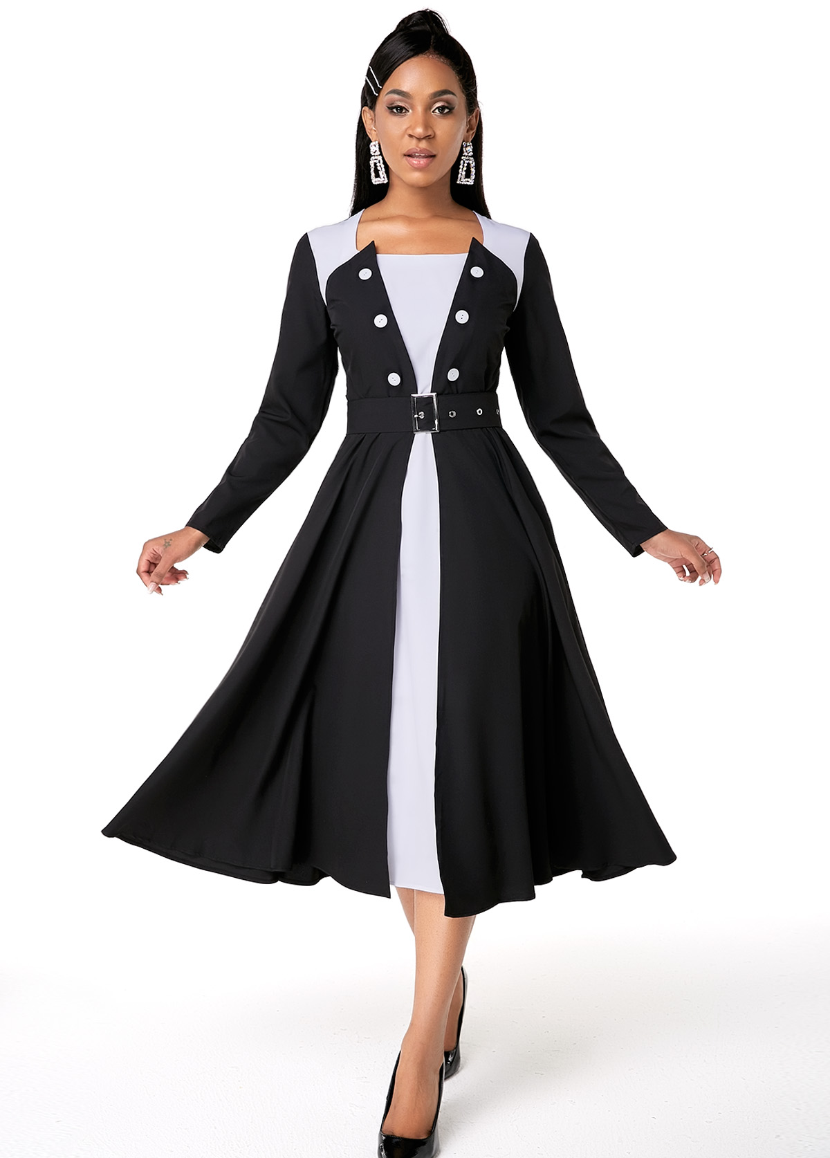 ROTITA Button Detail Contrast Belted Long Sleeve Dress