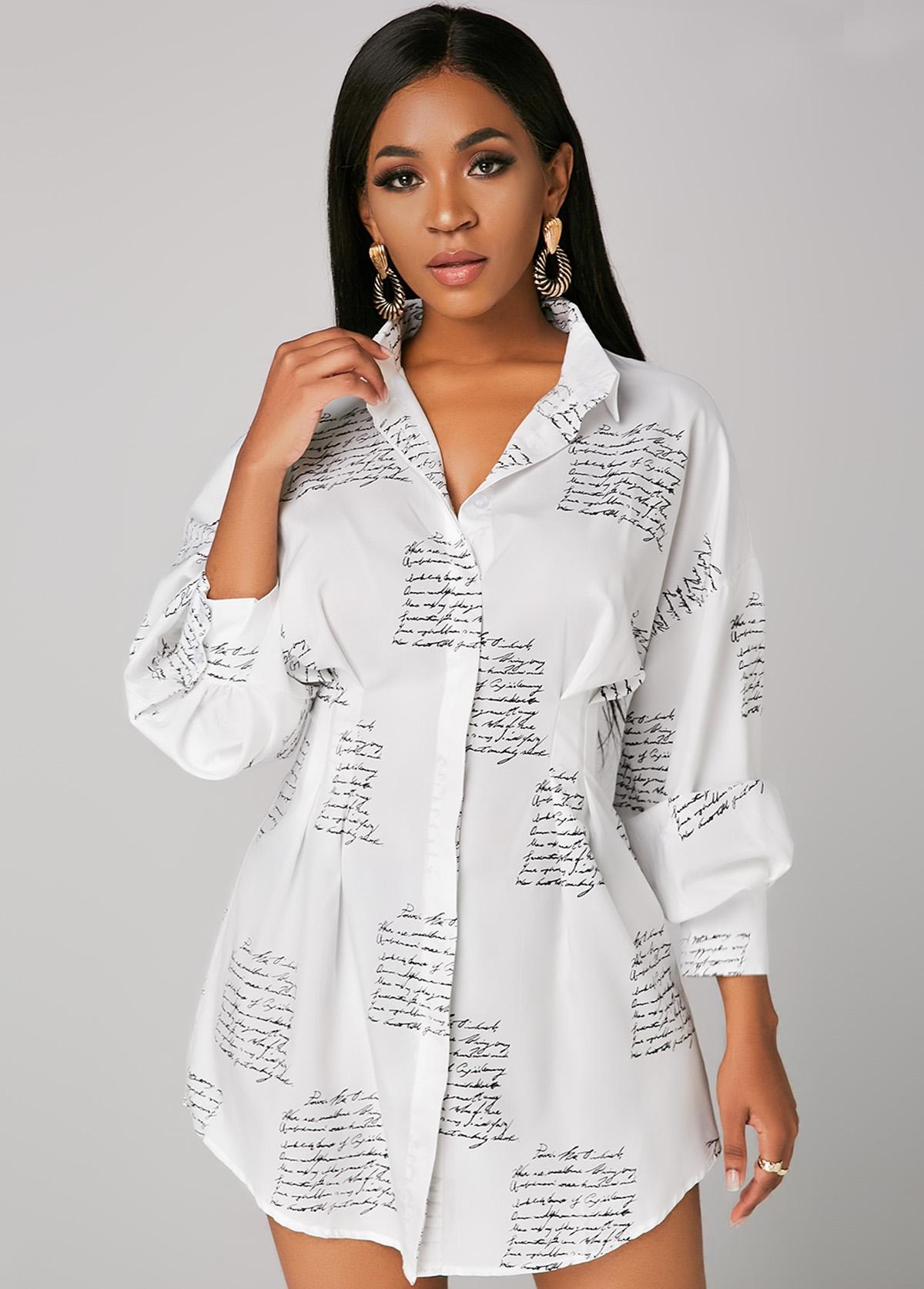 Button Up Letter Print Turndown Collar Shirt Dress