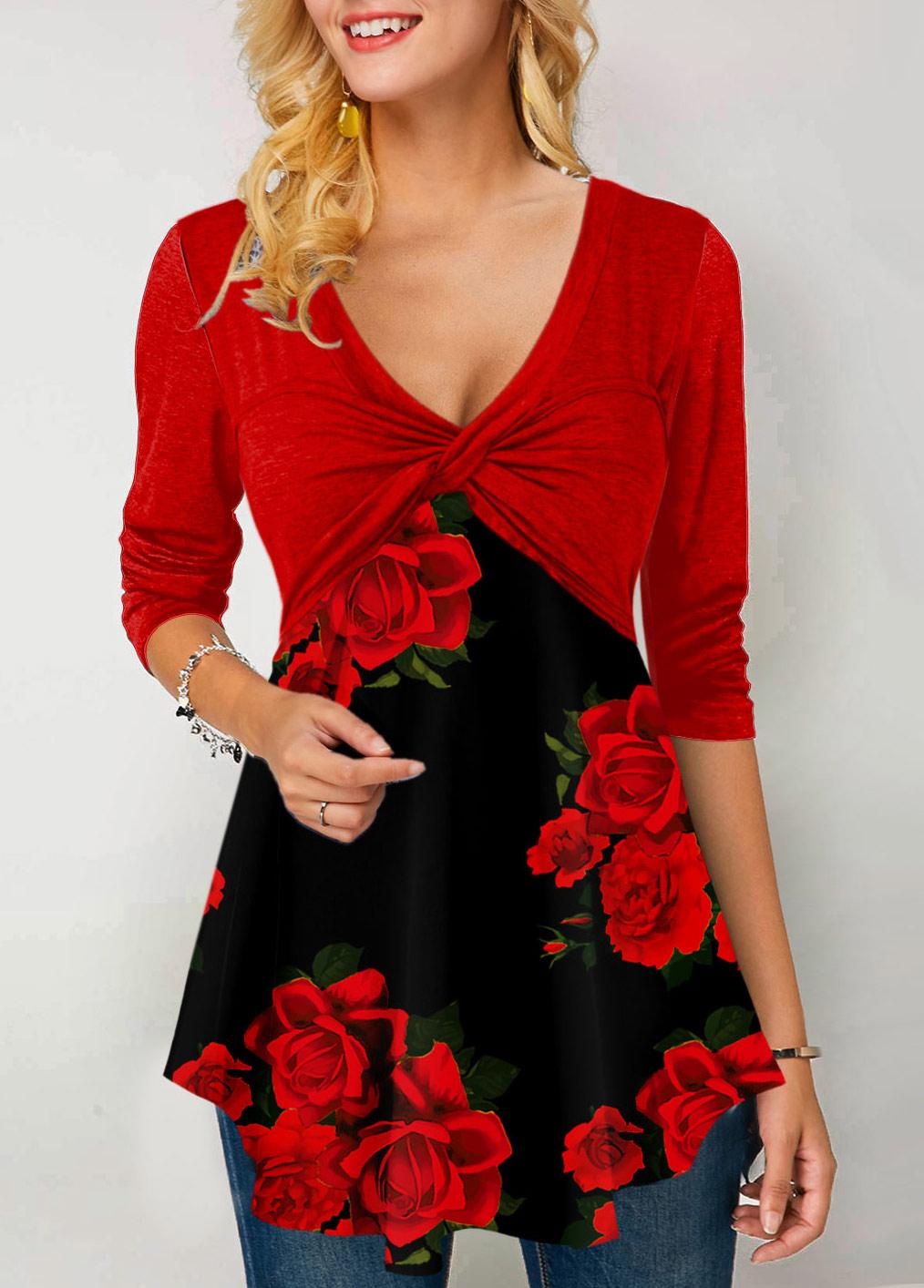 ROTITA Floral Print Long Sleeve Twist Front T Shirt
