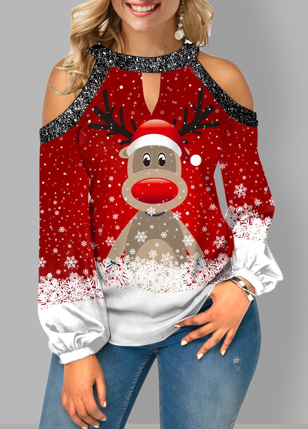 ROTITA Cold Shoulder Christmas Print Sequin Contrast Blouse