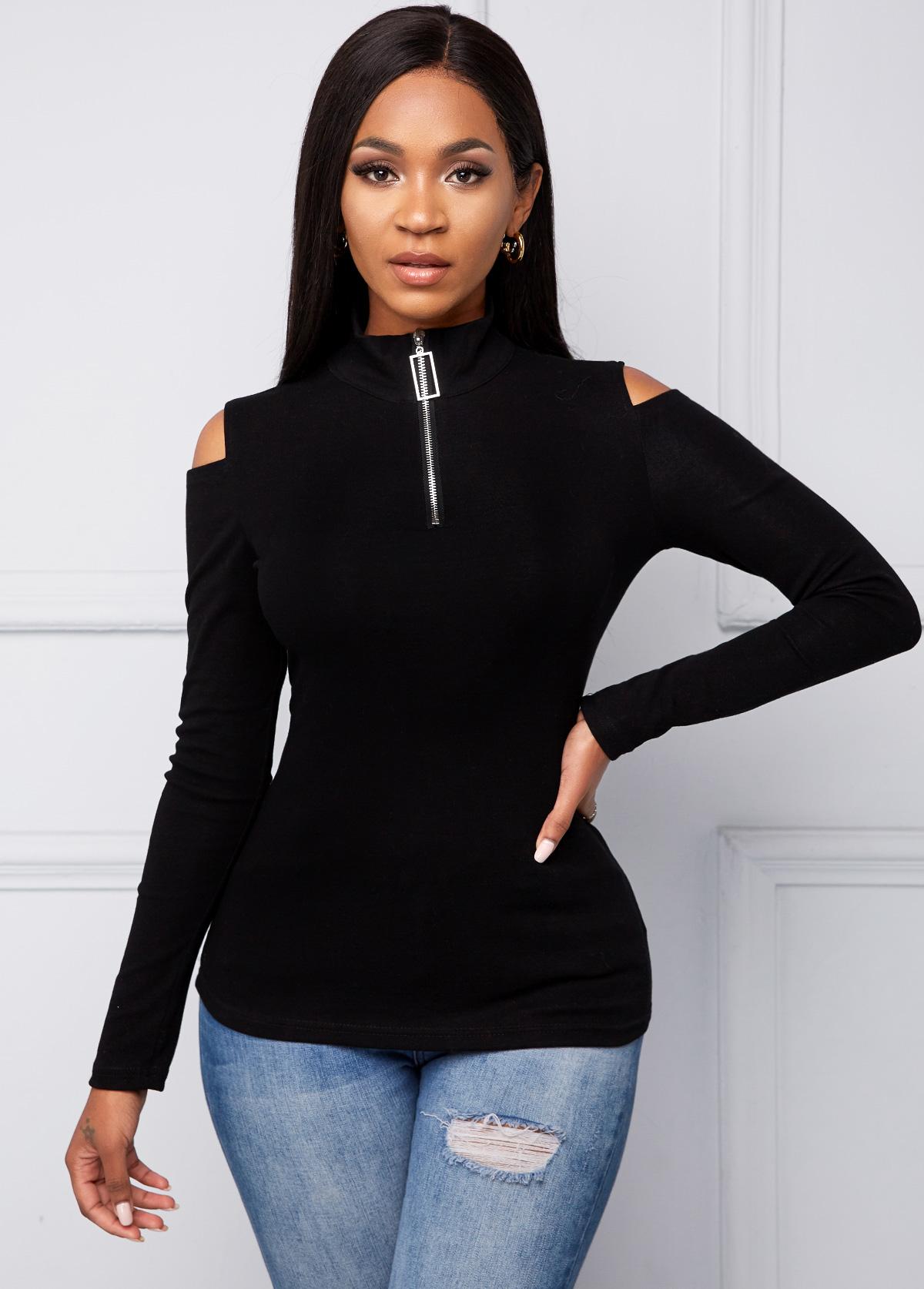 ROTITA Quarter Zip Cold Shoulder Long Sleeve T Shirt
