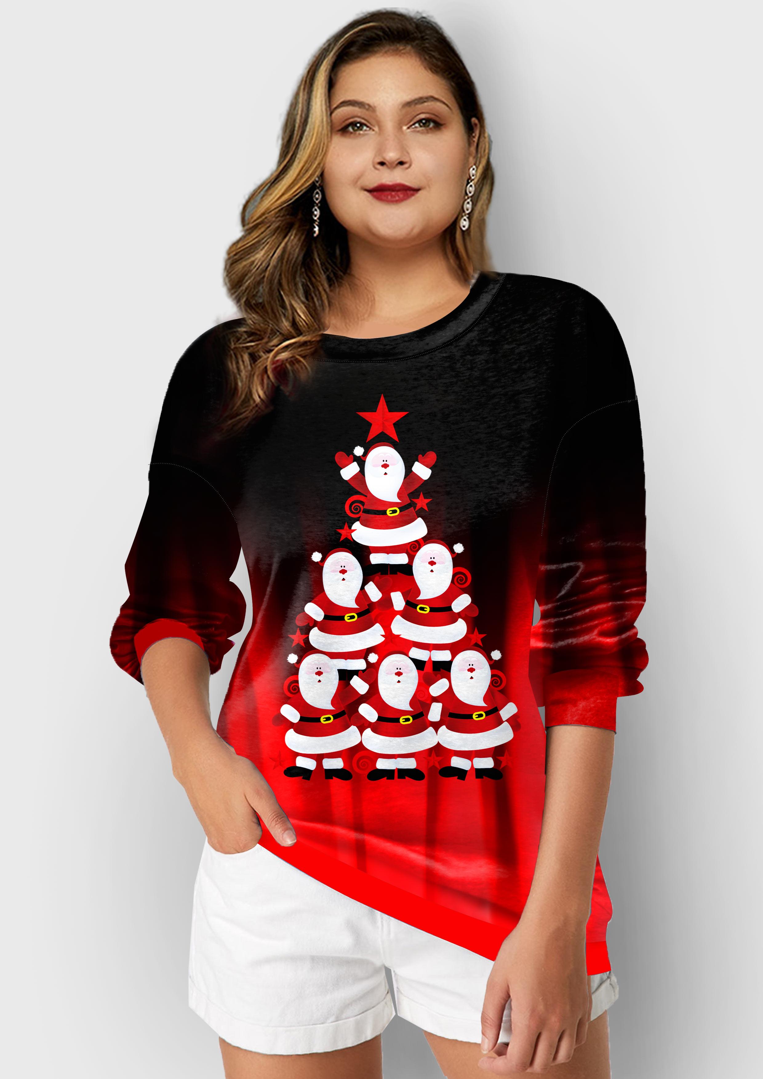 ROTITA Plus Size Christmas Print Long Sleeve Sweatshirt