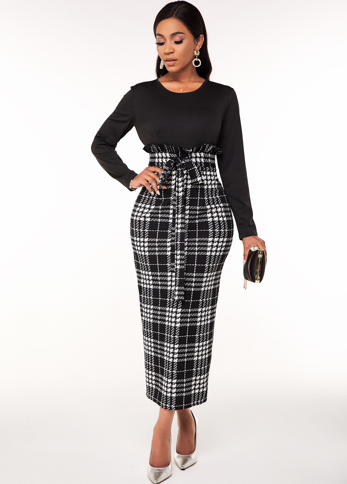ROTITA Houndstooth Print Long Sleeve Belted Dress
