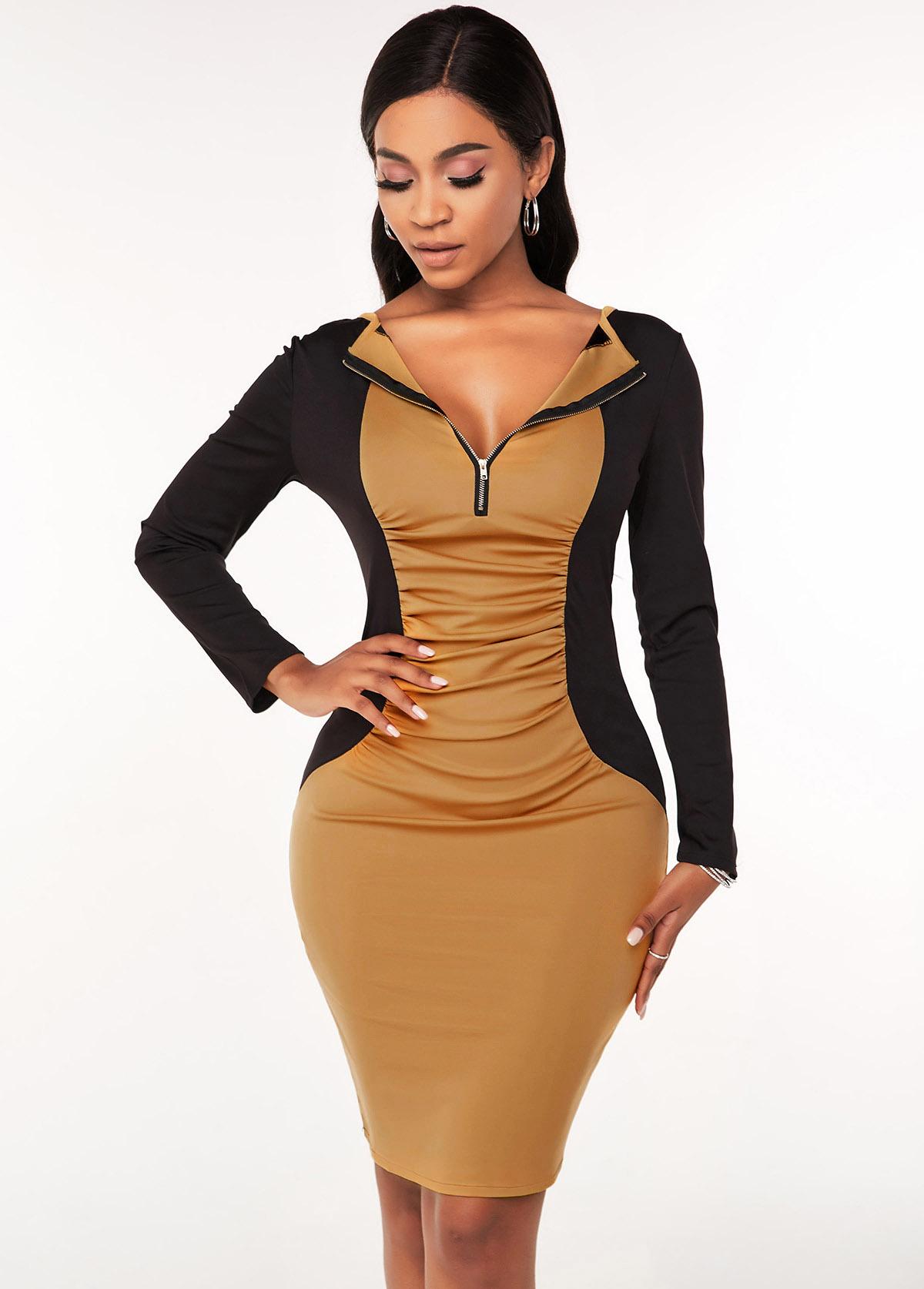 ROTITA Quarter Zip Contrast Ruched Bodycon Dress