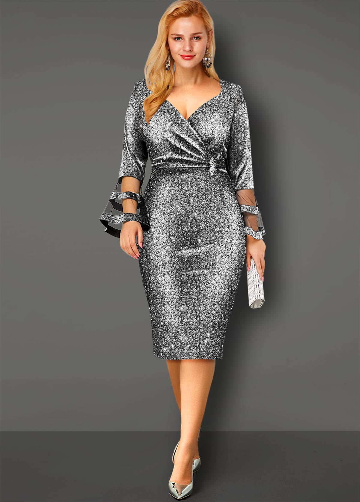 ROTITA Flare Sleeve Hot Stamping Sequin Dress