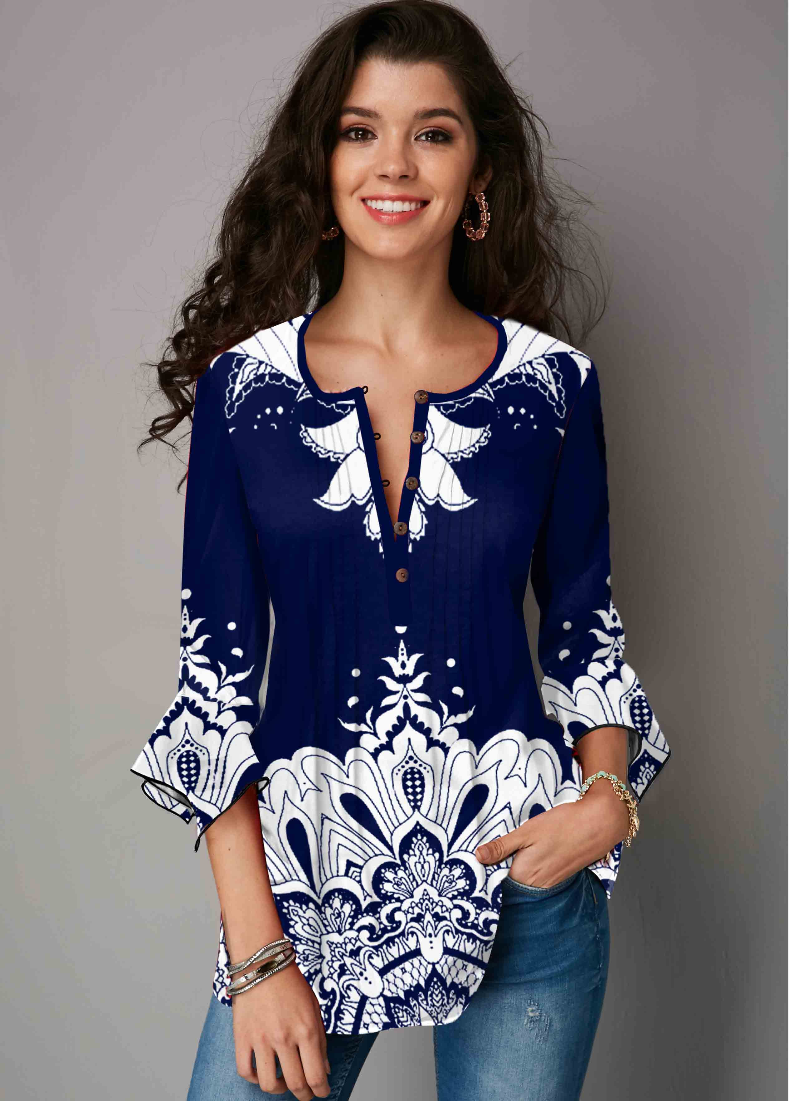 ROTITA Tribal Print Navy Blue Hanky Cuff Blouse