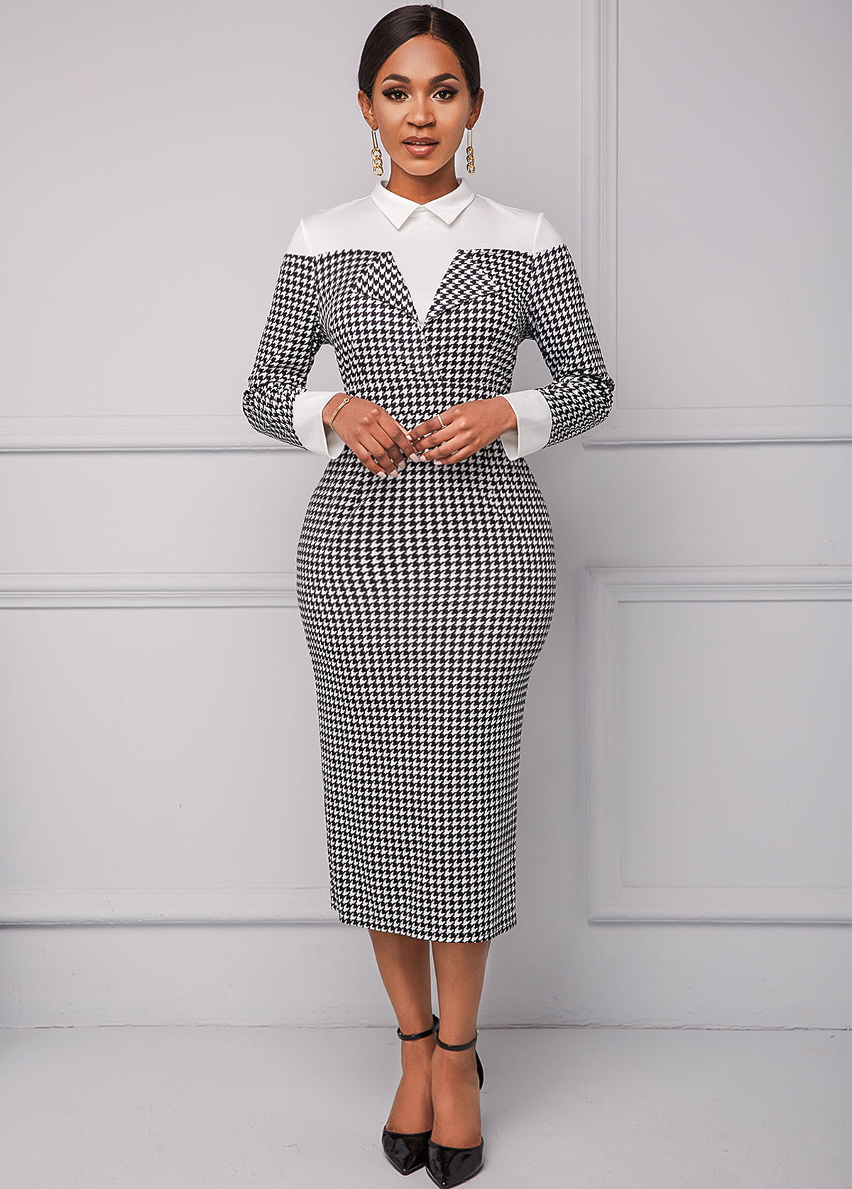 ROTITA Turndown Collar Houndstooth Print Long Sleeve Dress