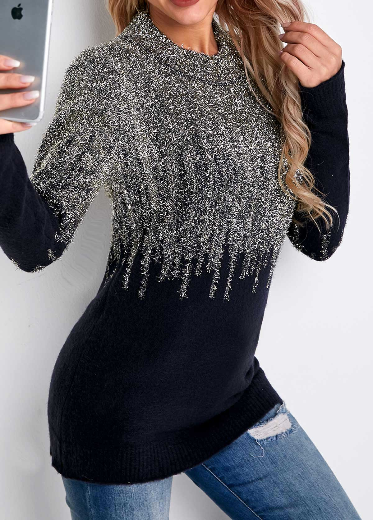 Shining Long Sleeve Round Neck Sweater