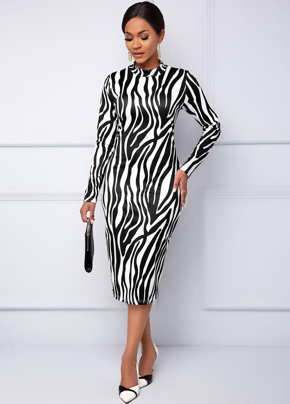 Round Neck Zebra Print Long Sleeve Dress