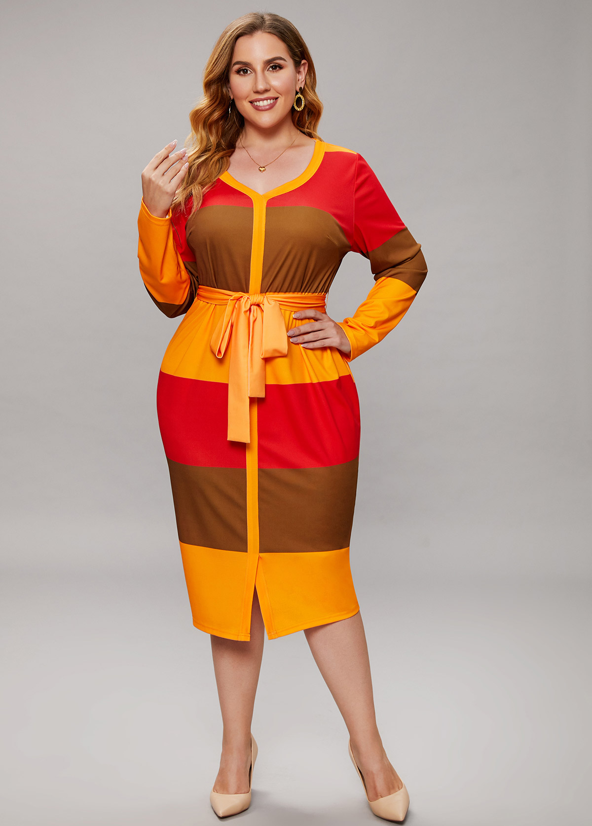 ROTITA Plus Size Color Block Striped Belted Dress