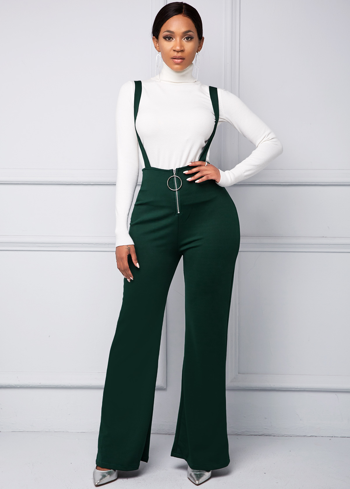 Zip Front Spaghetti Strap Ring Detail Jumpsuit