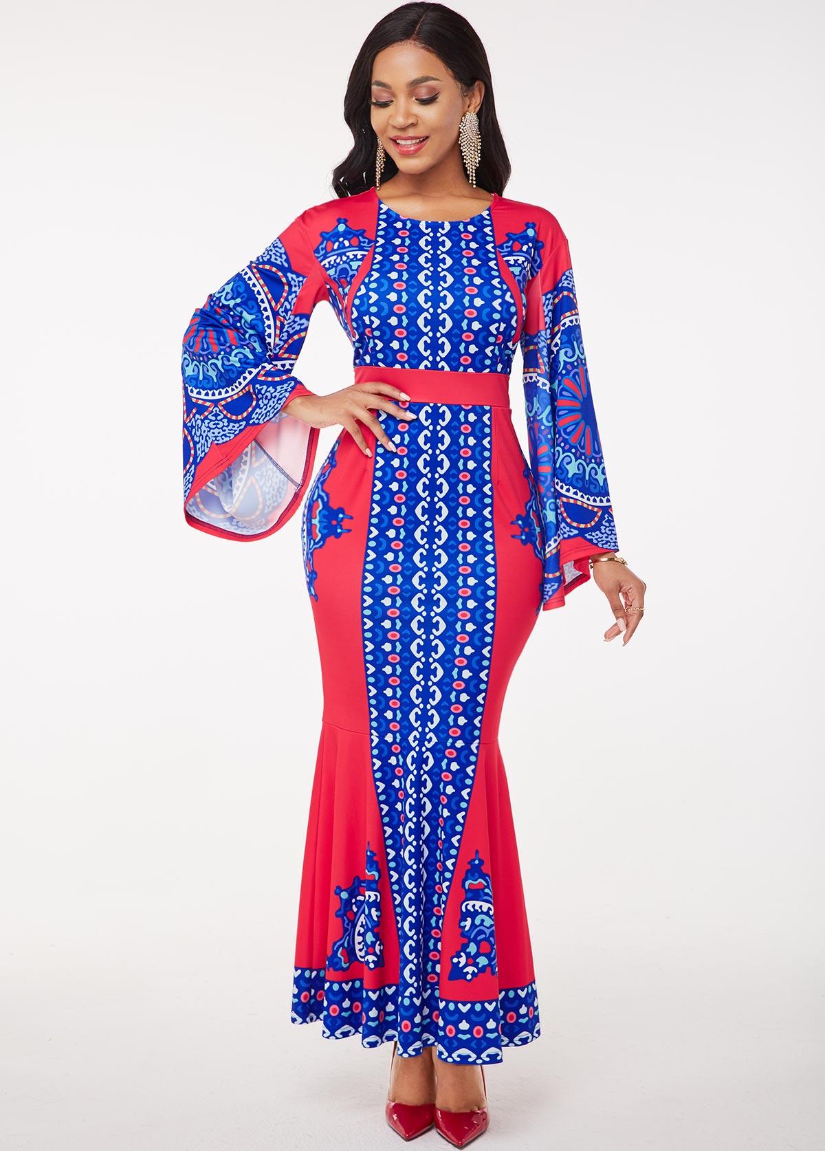 ROTITA Flare Sleeve Printed Round Neck Maxi Dress
