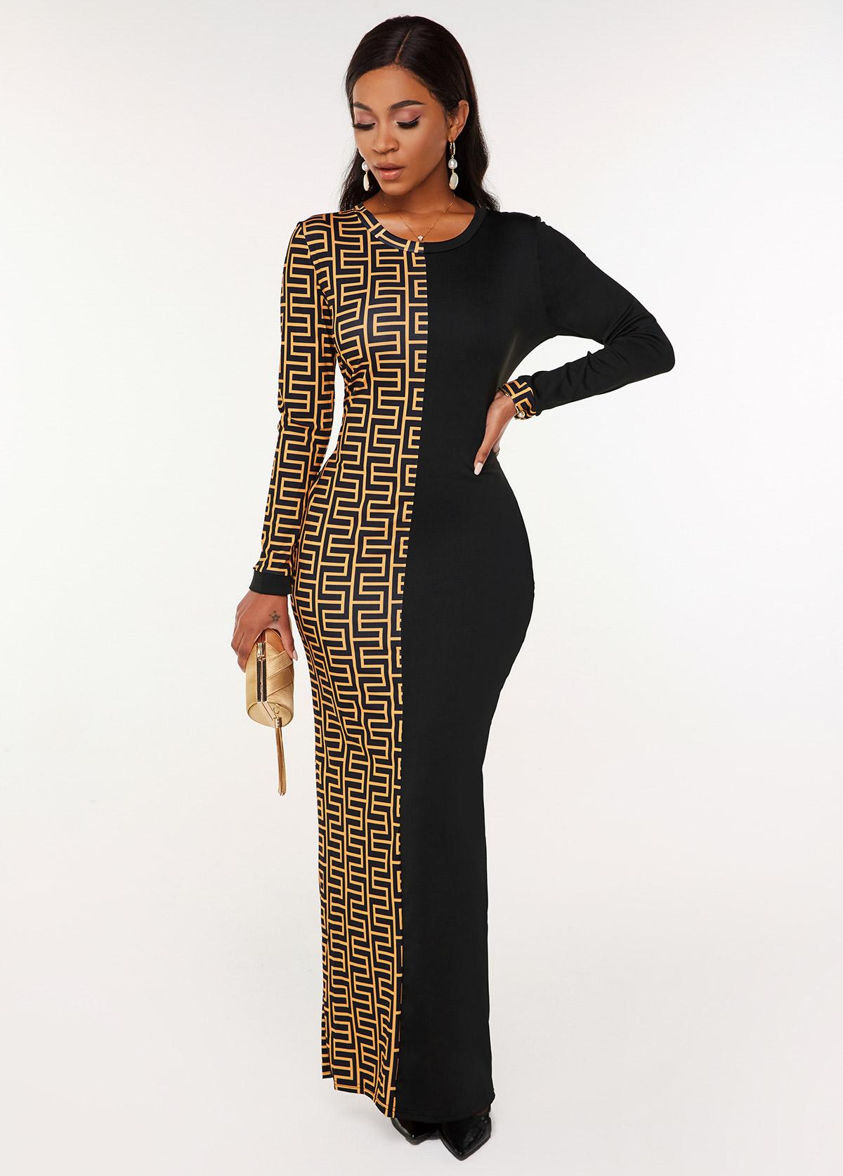Round Neck Geometric Print Long Sleeve Dress