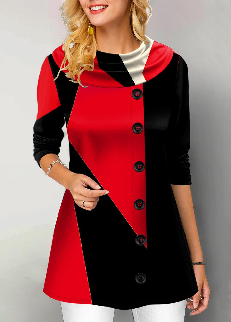 ROTITA Button Detail Contrast Long Sleeve Tunic Top