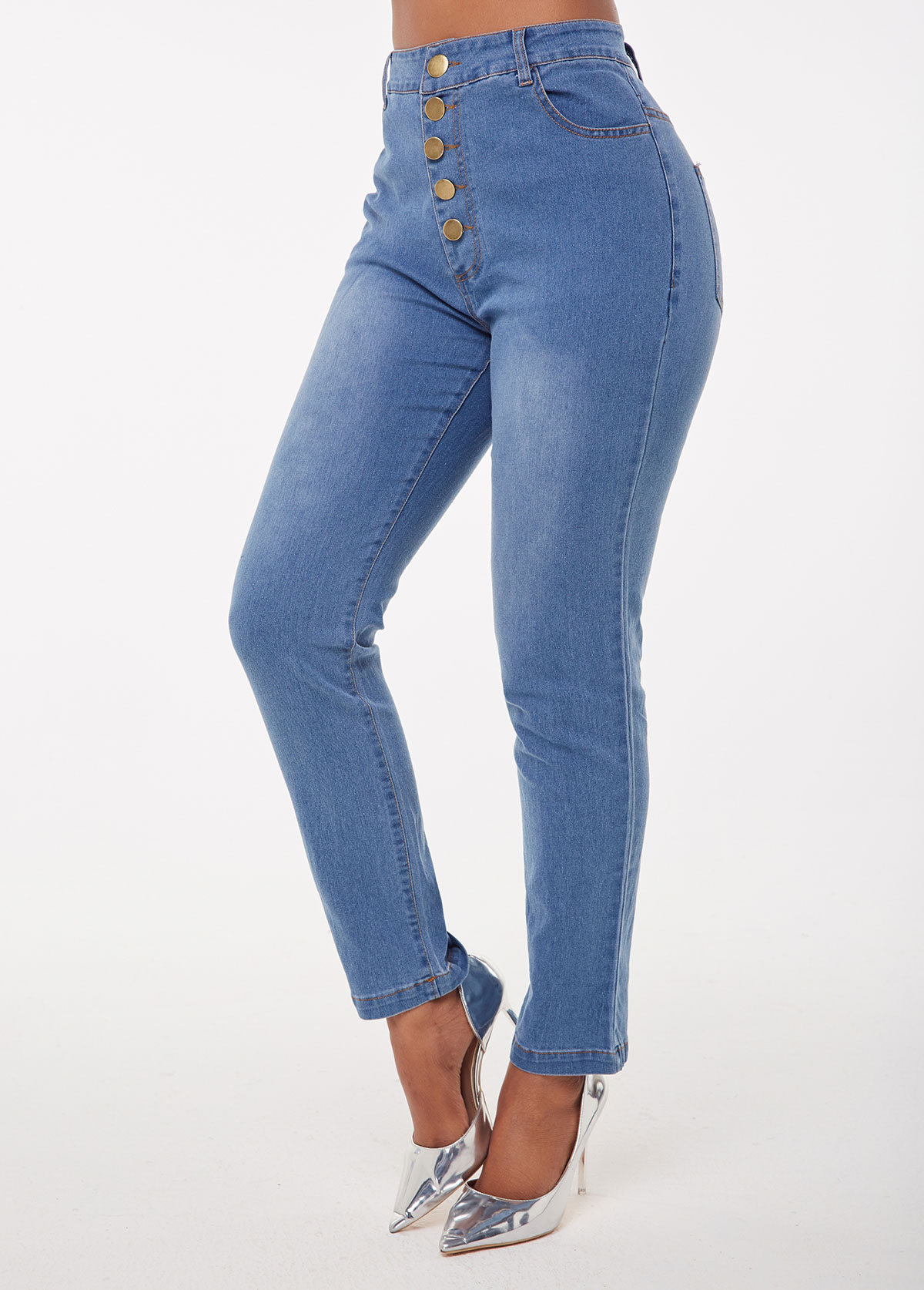 Acid Washed High Waist Button Jeans