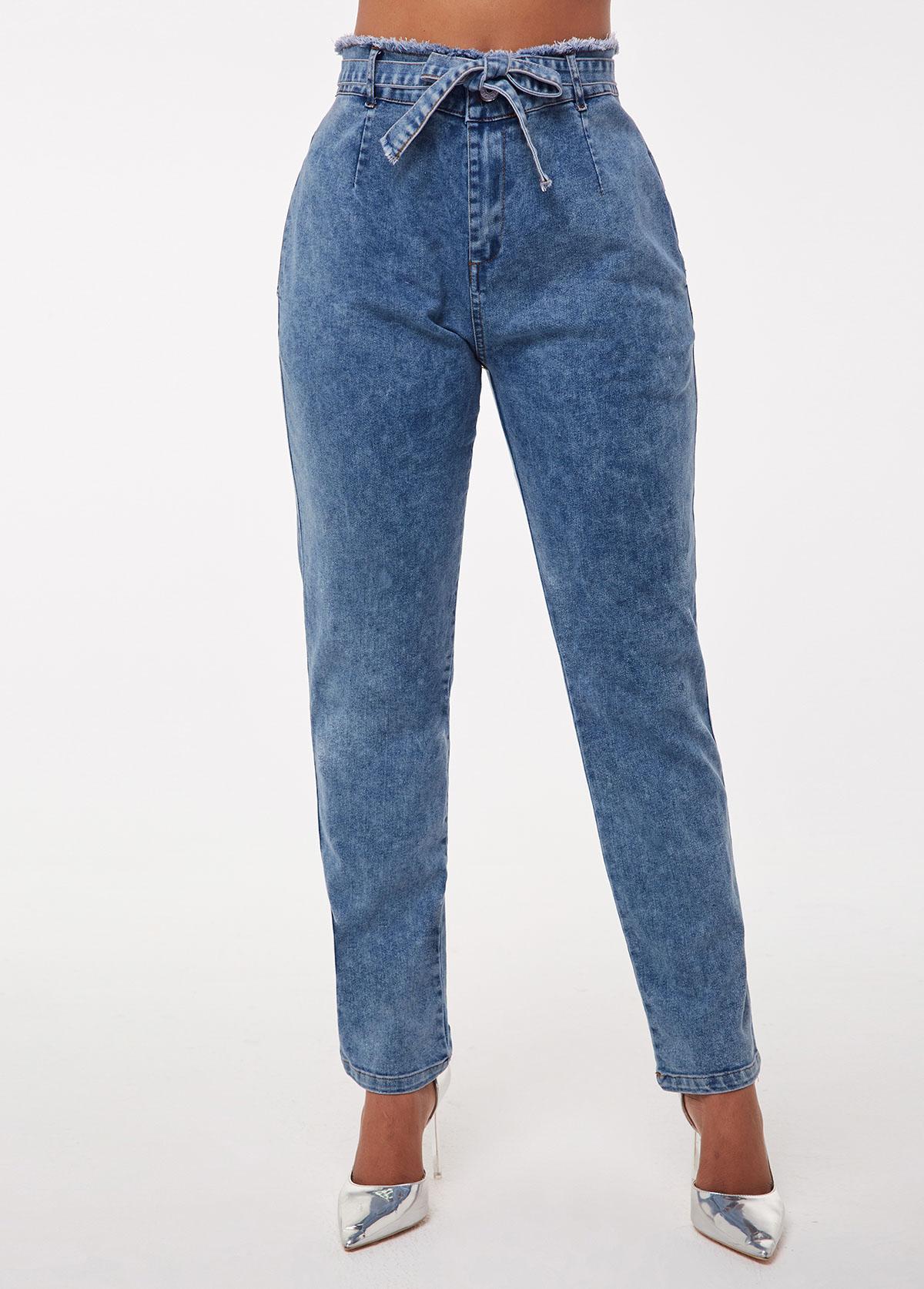 High Waist Frayed Hem Tie Waist Jeans