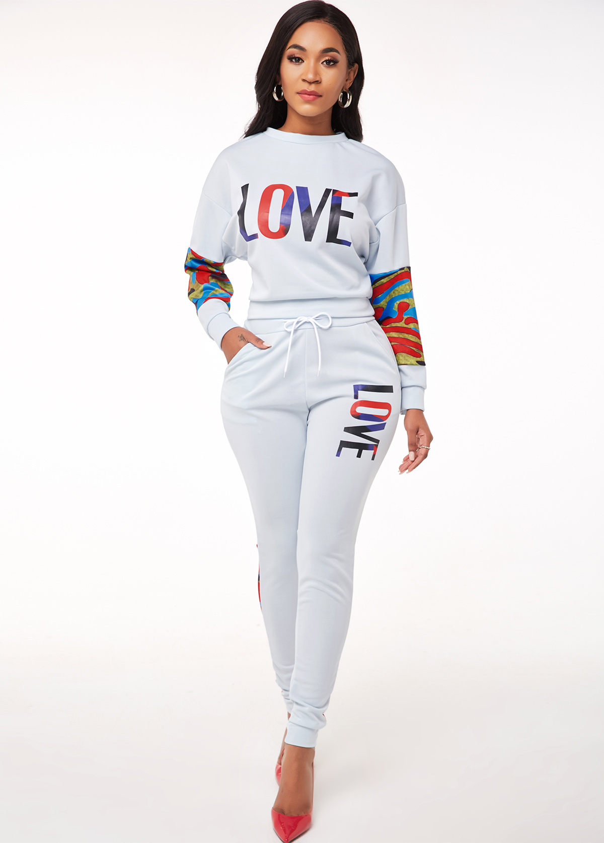 Letter Print Drawstring Waist Long Sleeve Sweatsuit