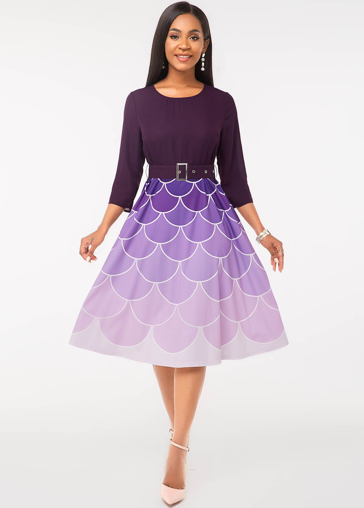 ROTITA Fish Scale Print Buckle Belted Ombre Dress